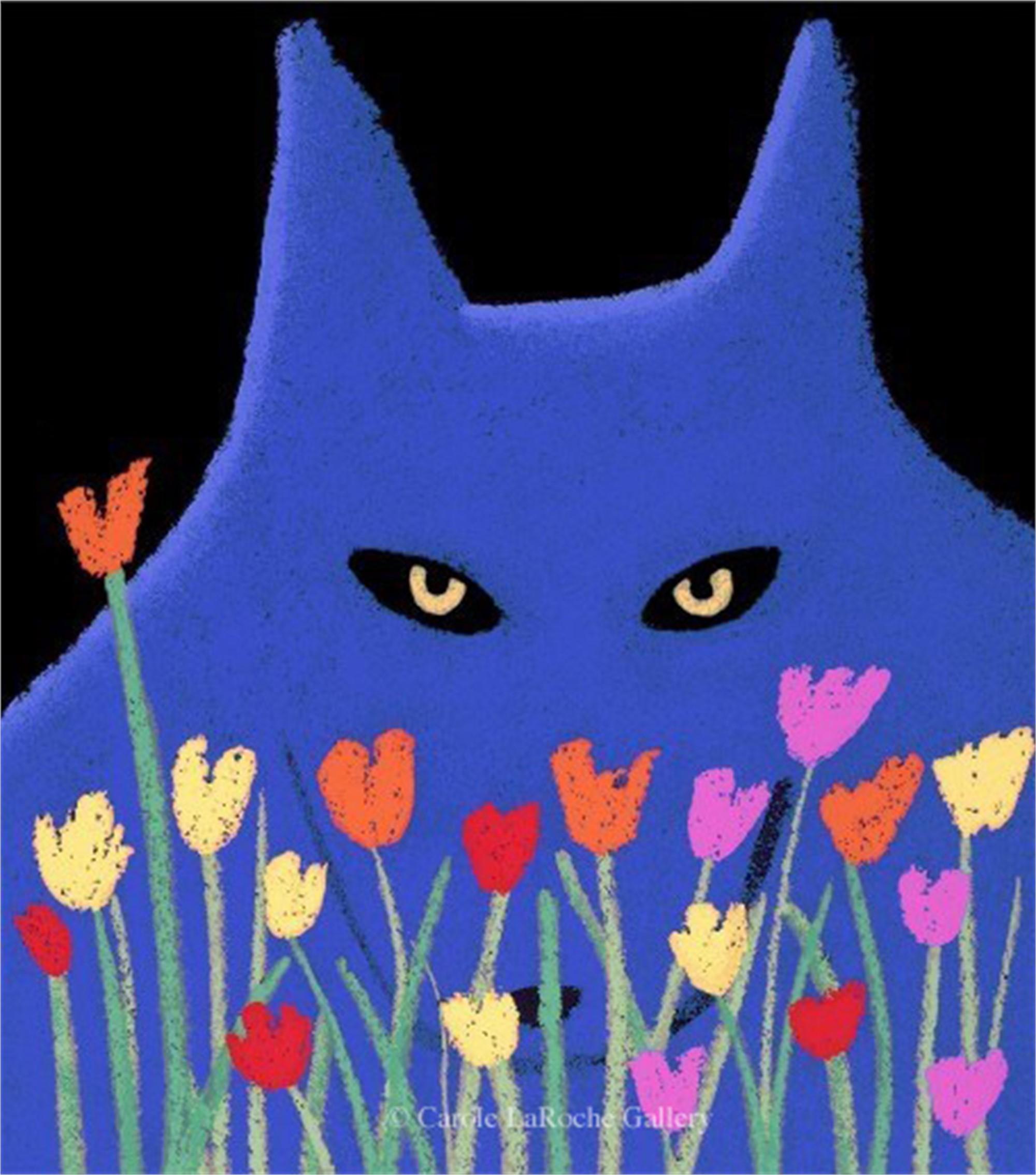 "SINGLE BLUE WOLF WITH FLOWERS  23""X20""  by Carole LaRoche"