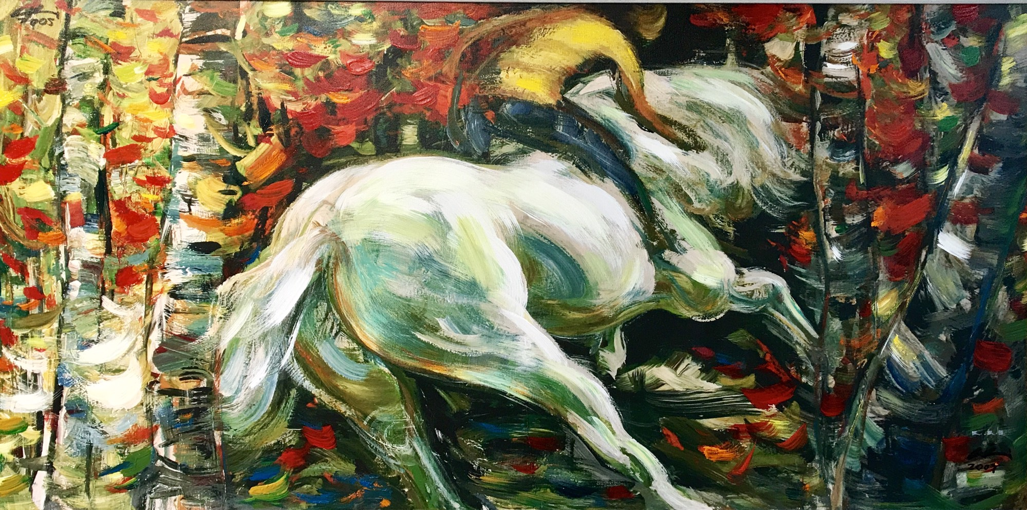 White Horse - Hand Embellished Glicee by LILI