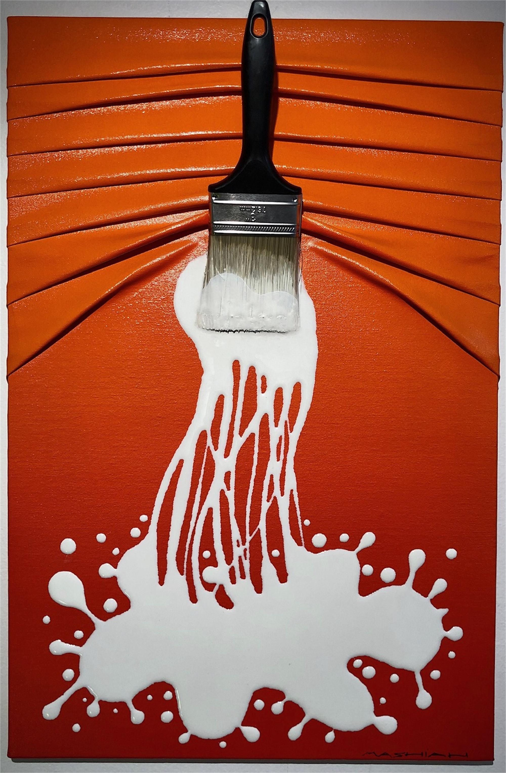 """Let's Paint"" small, White splash on Red by Efi Mashiah"