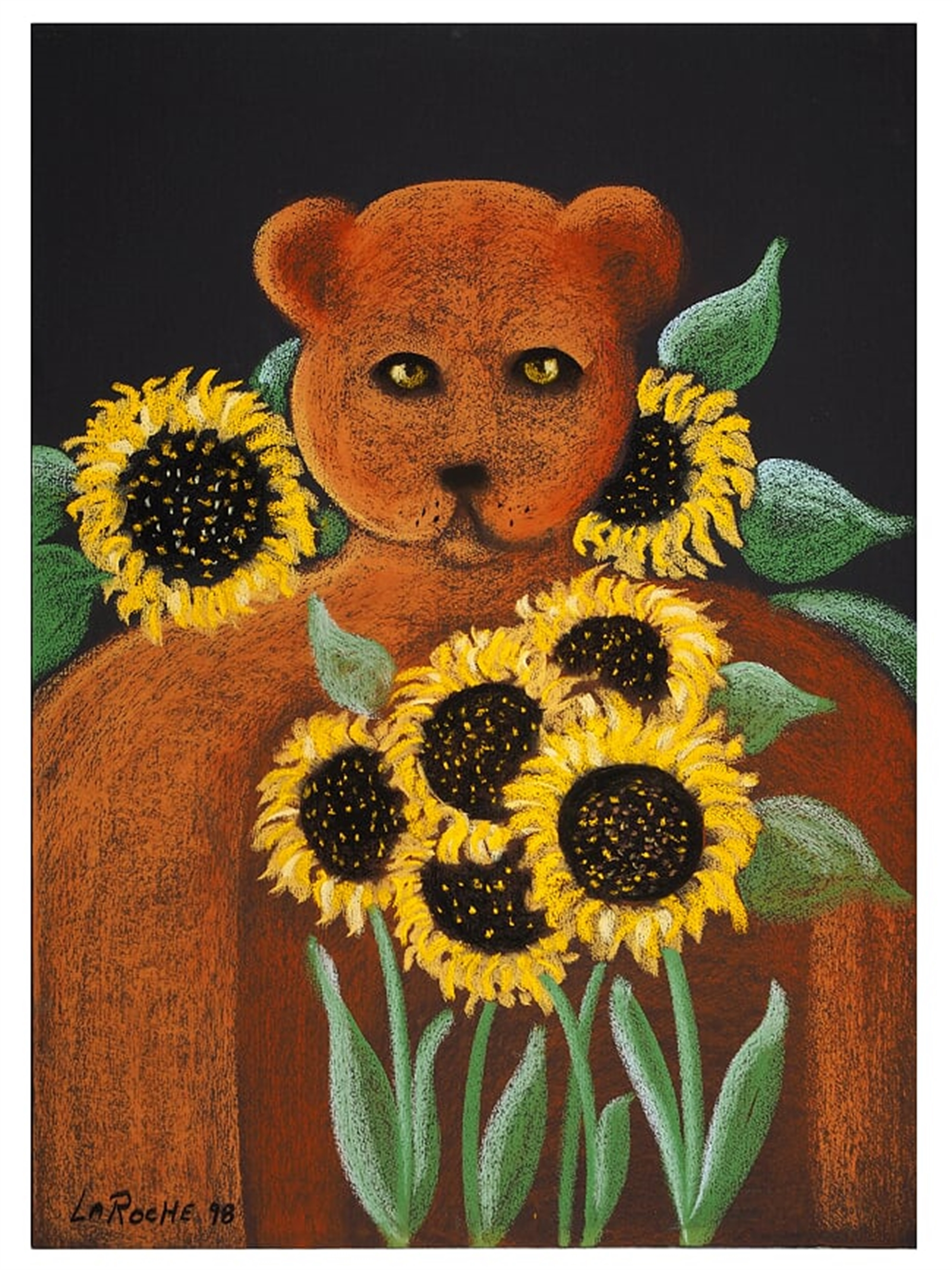 BEAR WITH SUNFLOWERS by Carole LaRoche