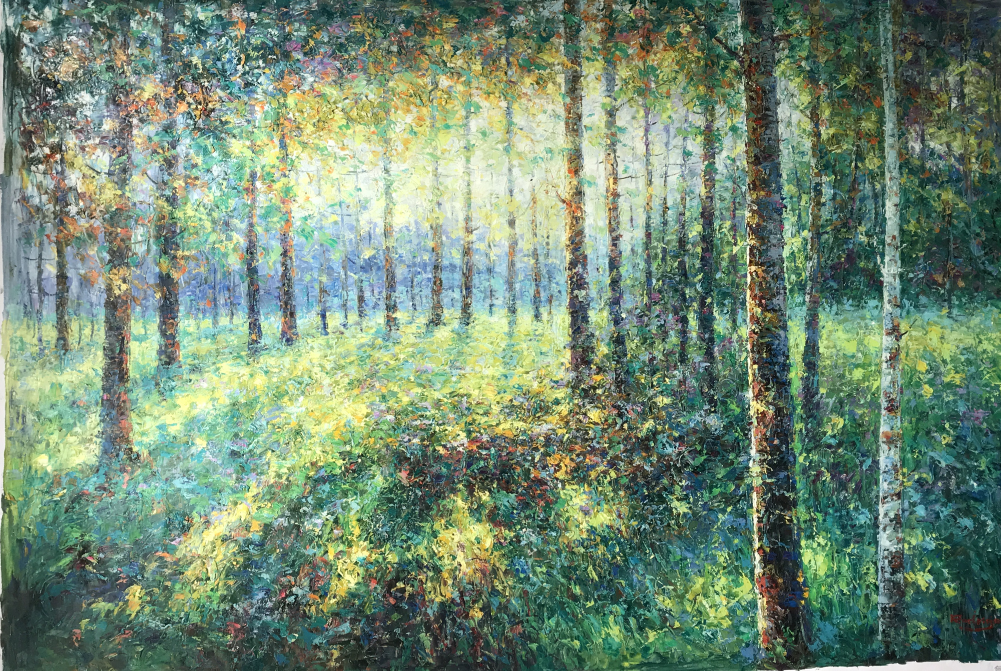 SUNLIGHT THROUGH TREES NO PATH by RODRIGO