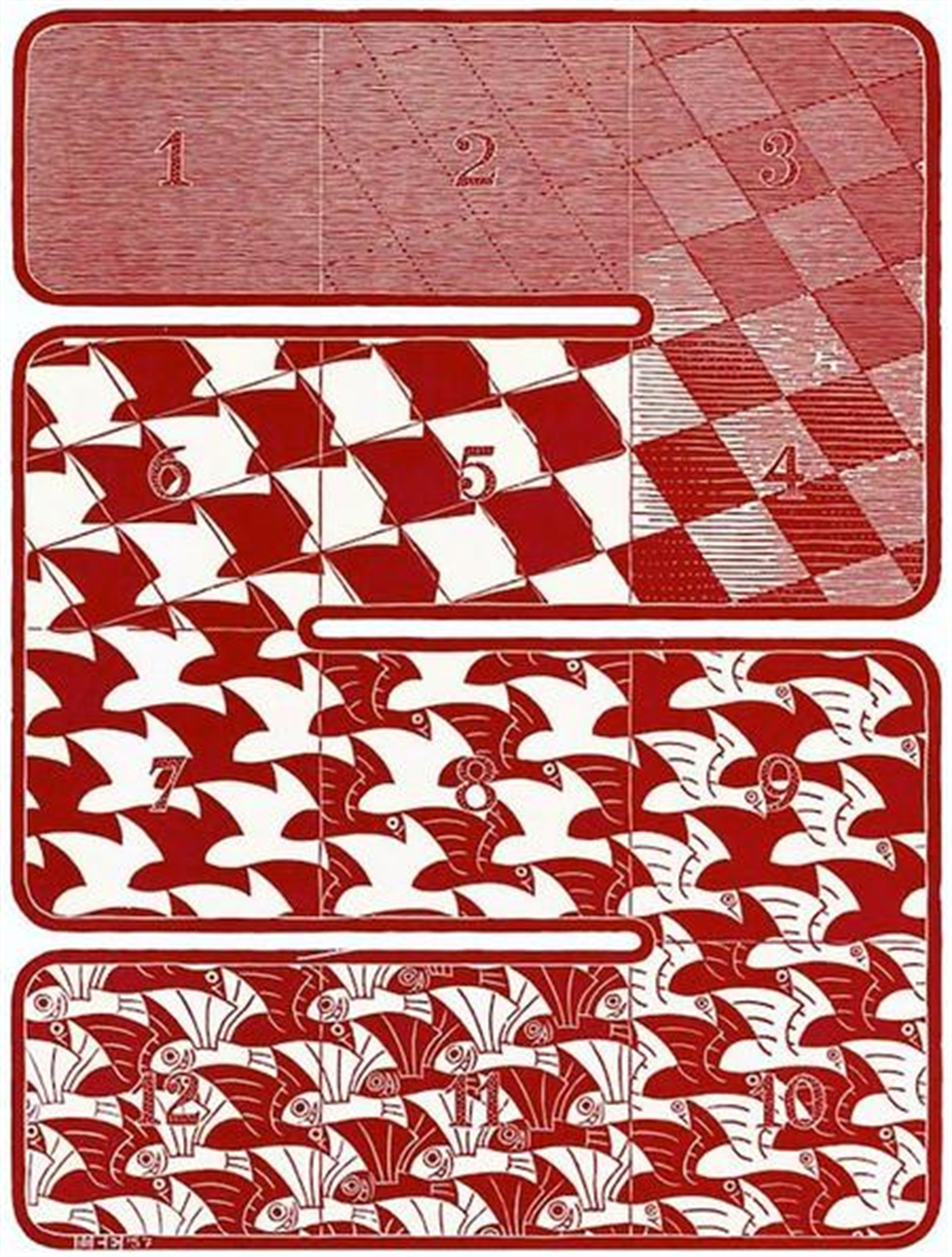 Regular Division of the Plane I Red by M.C. Escher