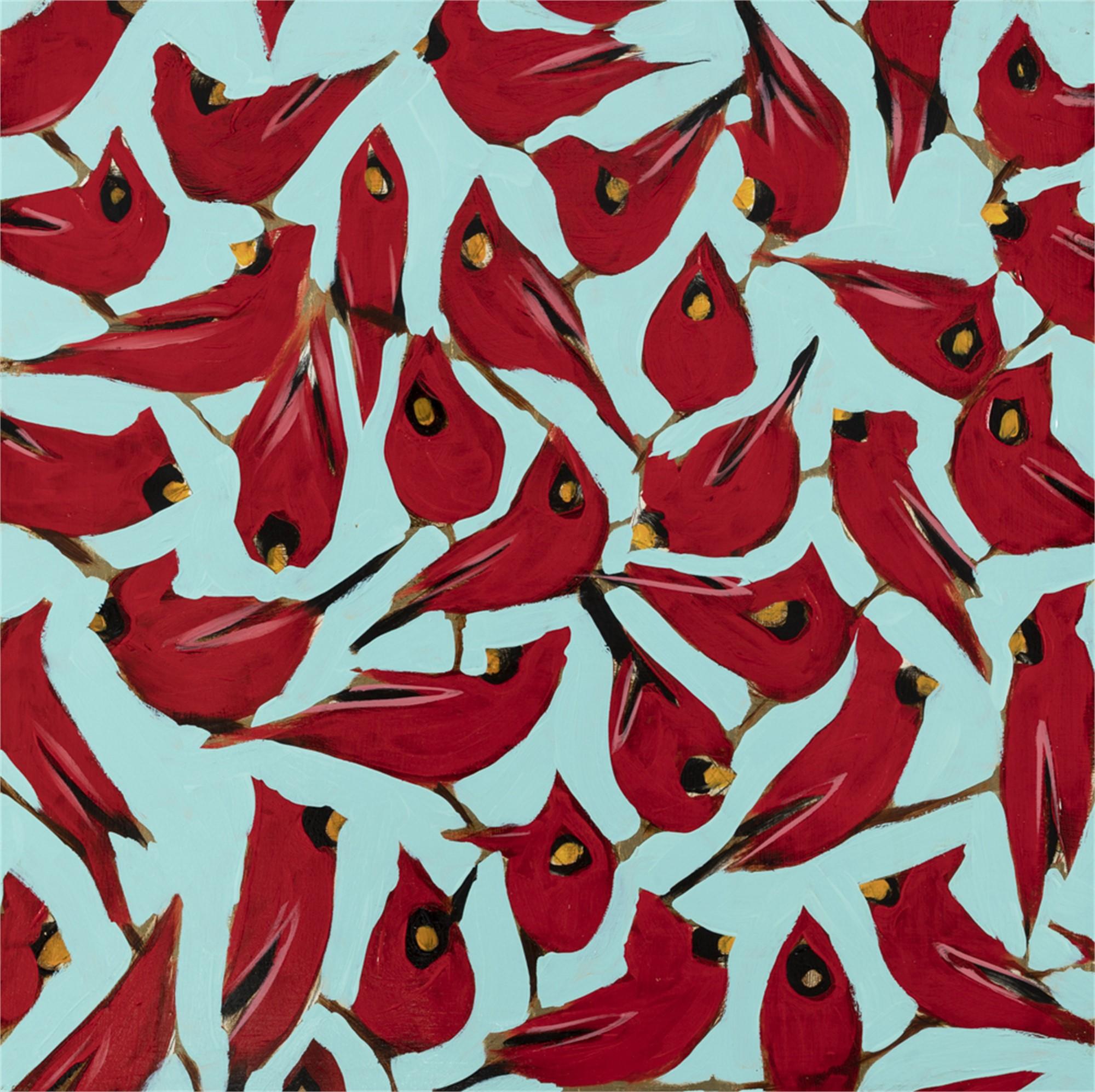 Cardinals on Blue by Joseph Bradley
