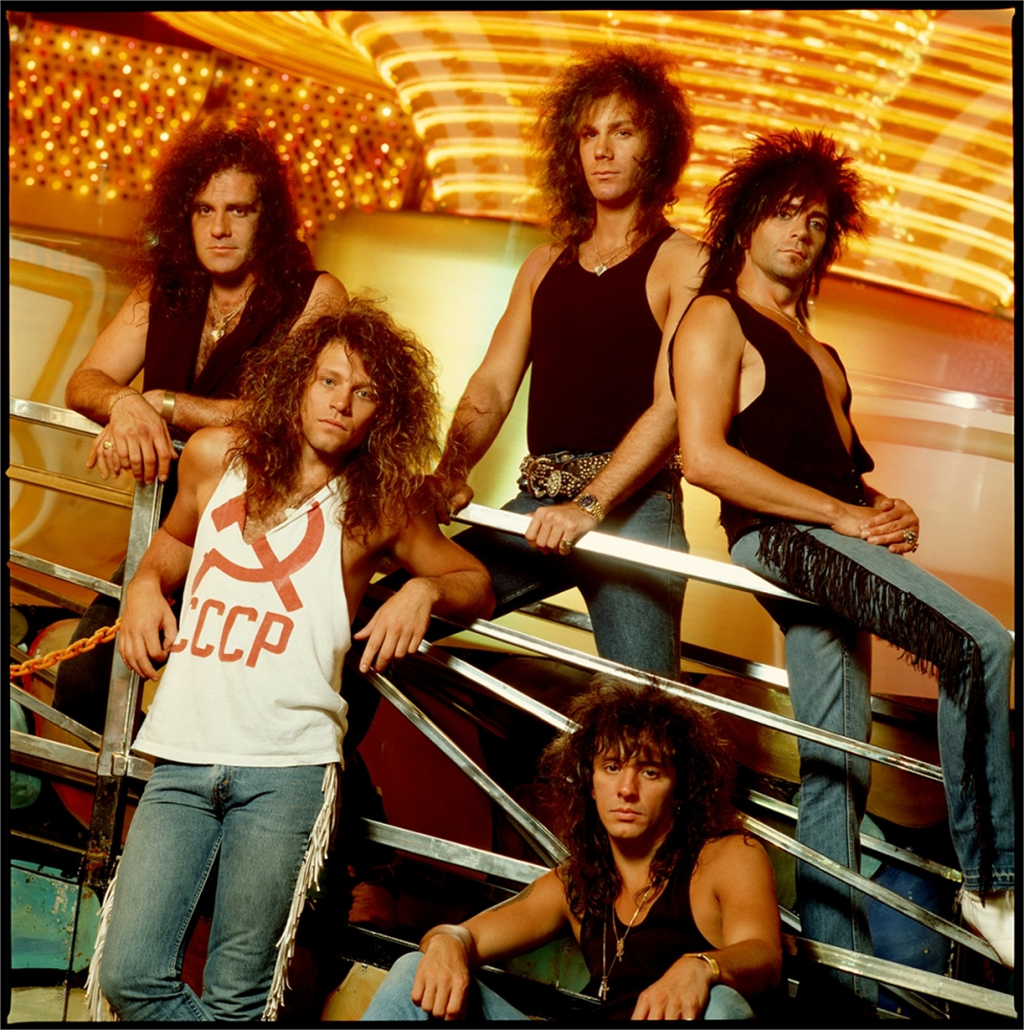 88130 Bon Jovi Band Yellow Background Color by Timothy White