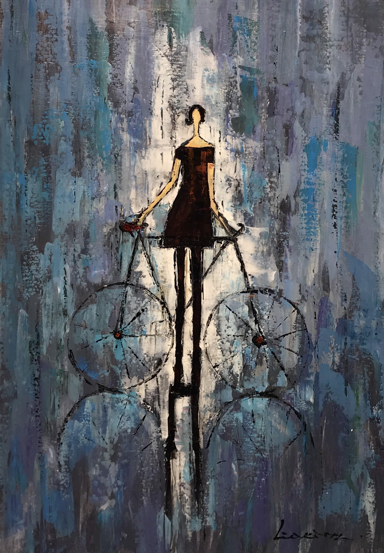 DARK DRESS WITH BICYCLE REFLECTION by LIA KIM