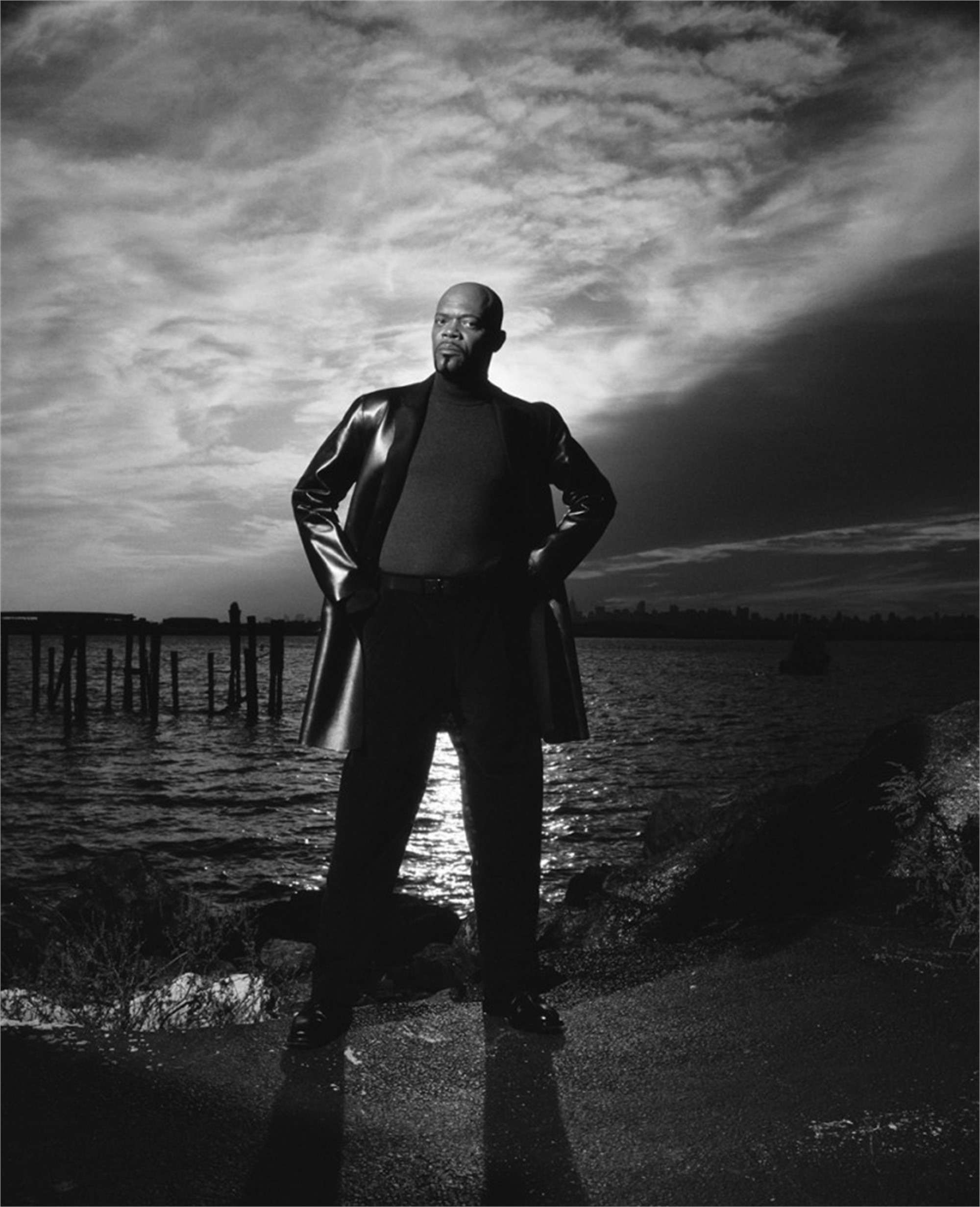 99067 Samuel L Jackson On the Water Queens 2011 BW by Timothy White