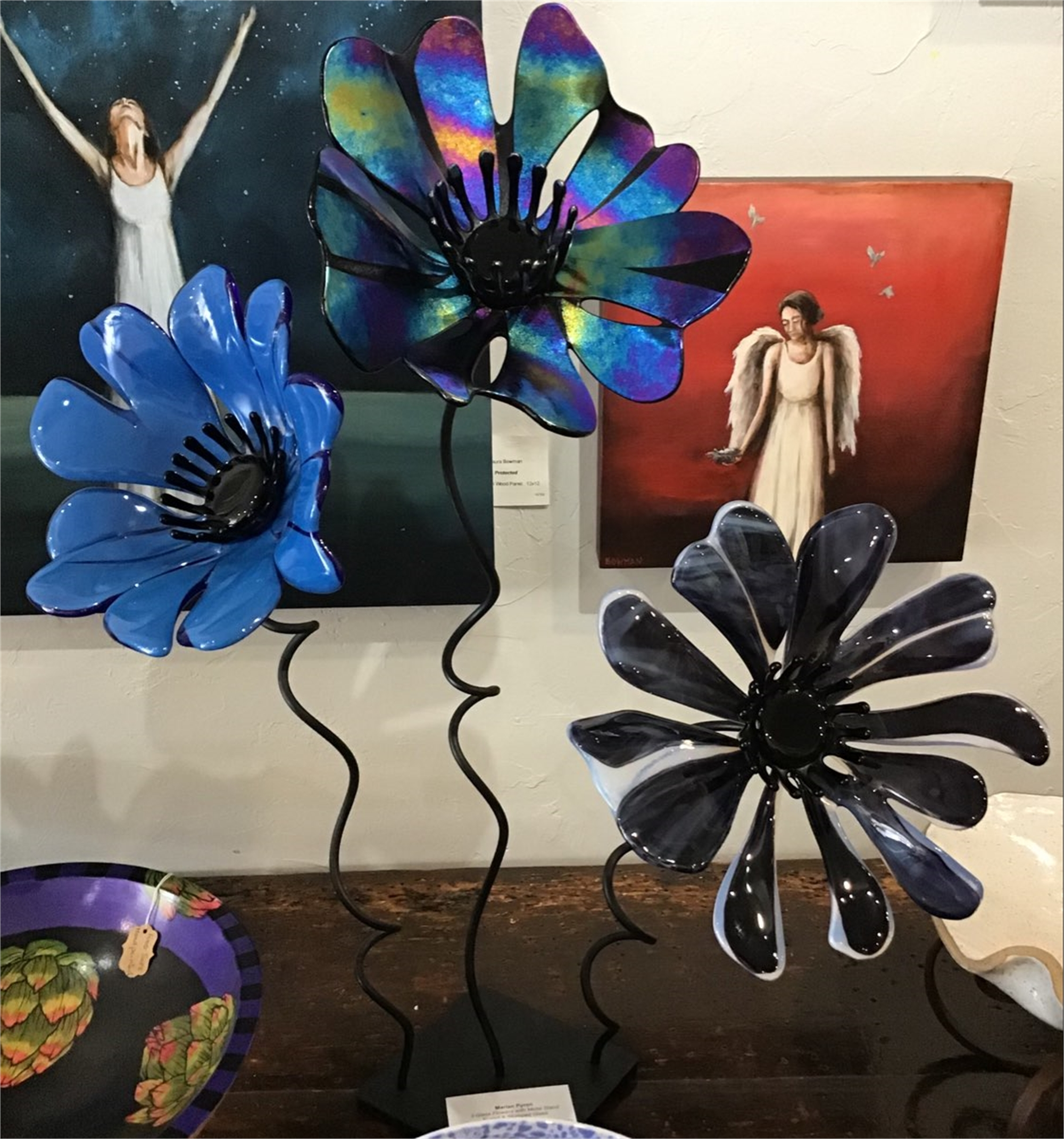 3 Glass Flowers with Metal Stand #2 by Marian Pyron