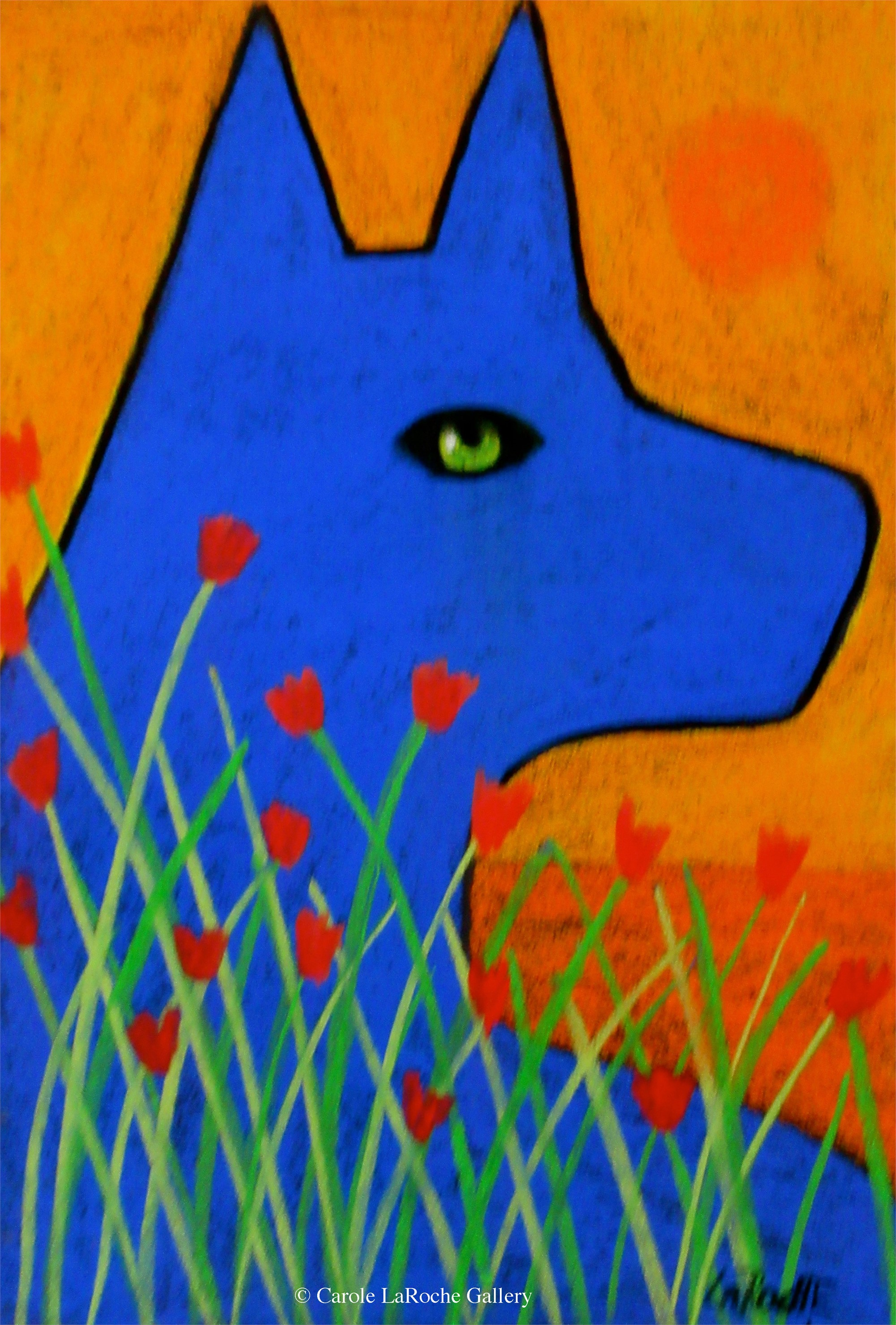 BLUE WOLF AND FLOWERS by Carole LaRoche