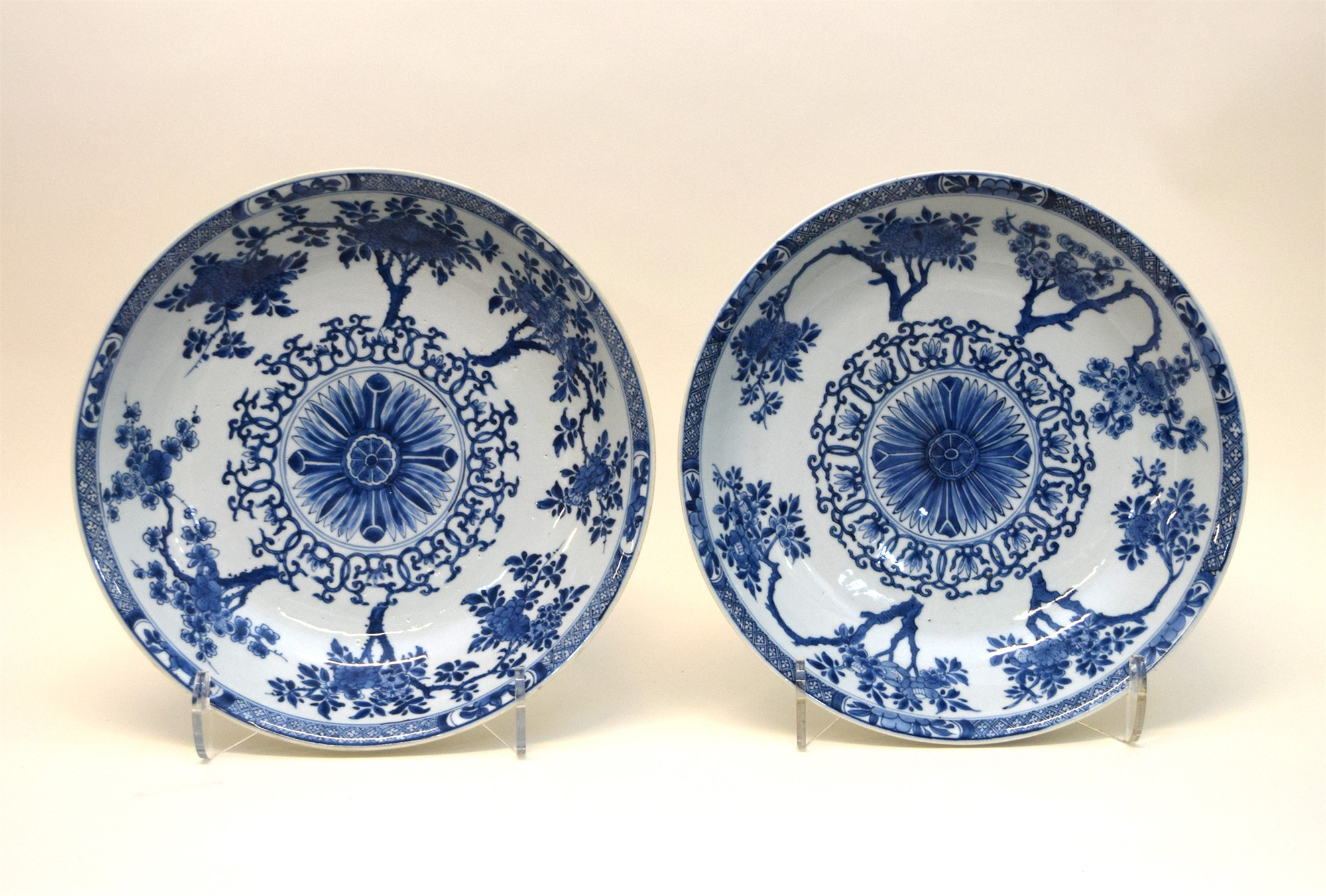 PAIR OF BLUE AND WHITE SAUCER DISHES