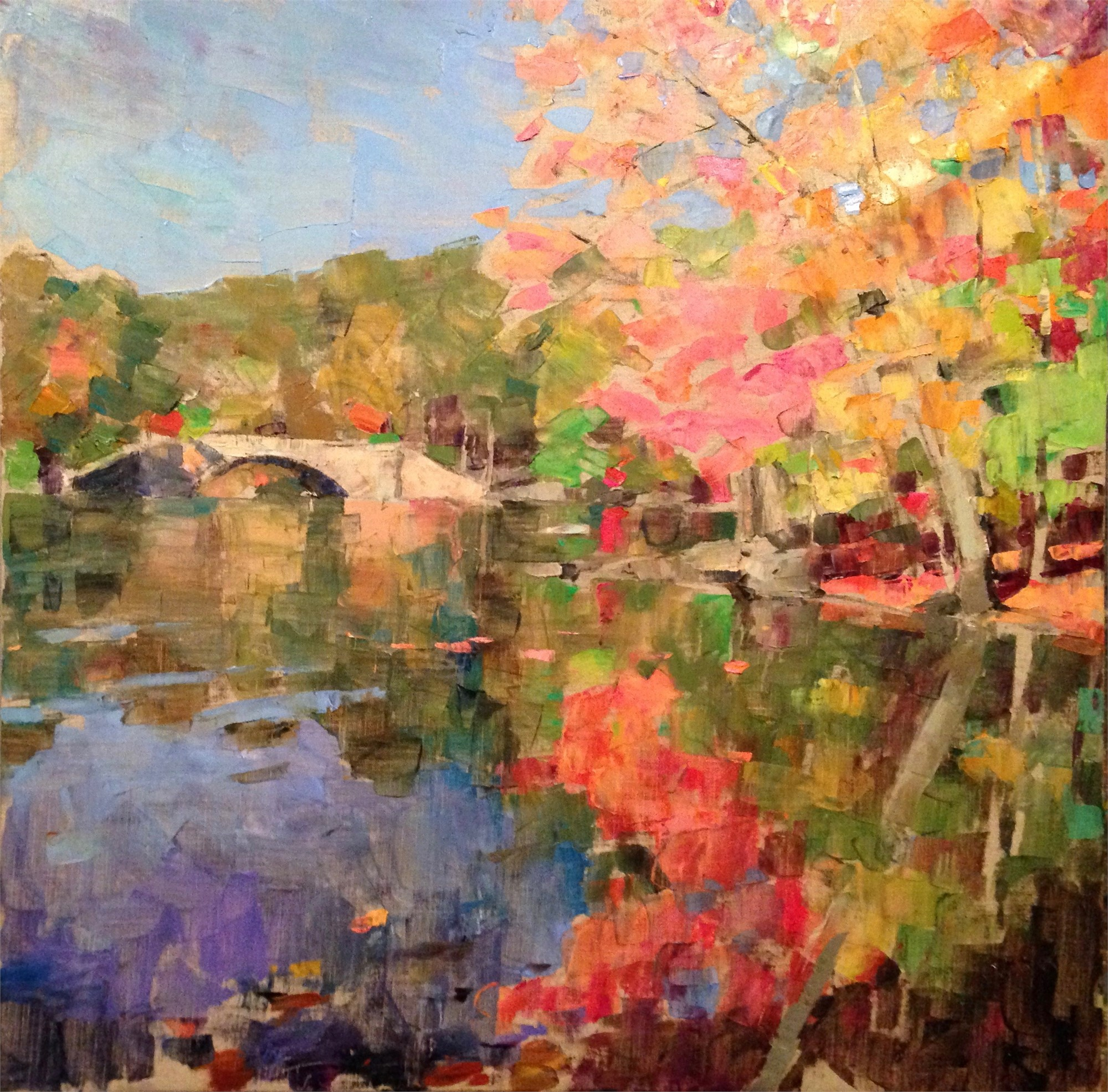 Autumn Bridge Reflections by Larry Horowitz