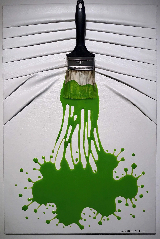 """Let's Paint"" small, Green splash on White by Efi Mashiah"