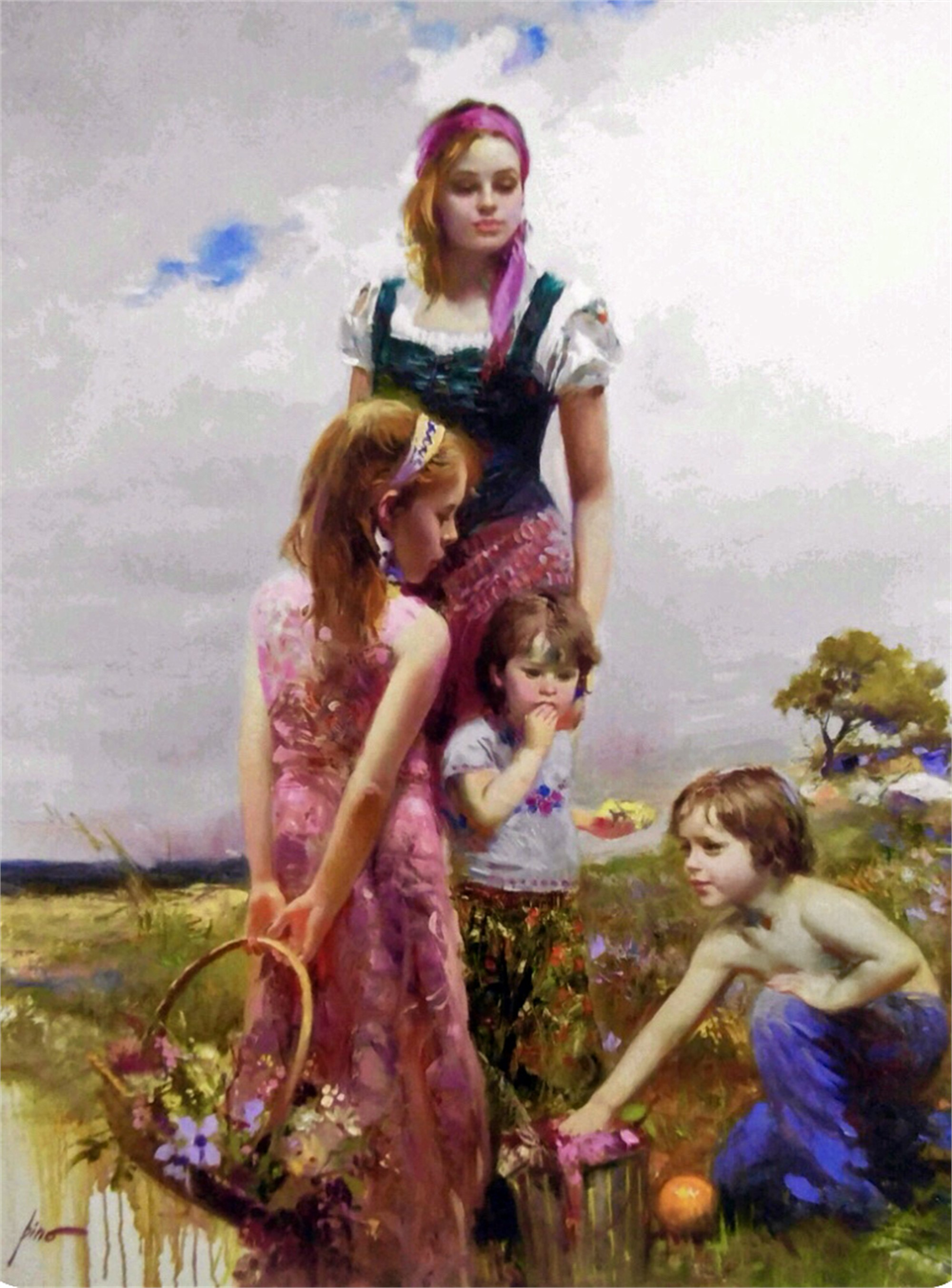 Lady with Children on the Beach by PINO