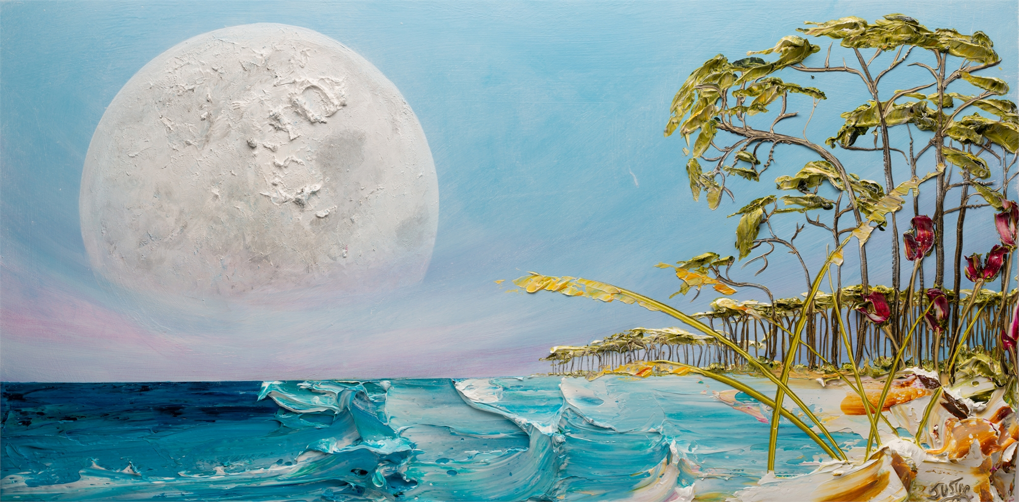 (SOLD) SUNRISE MOONSCAPE-MS-60x30-2019-228 by JUSTIN GAFFREY
