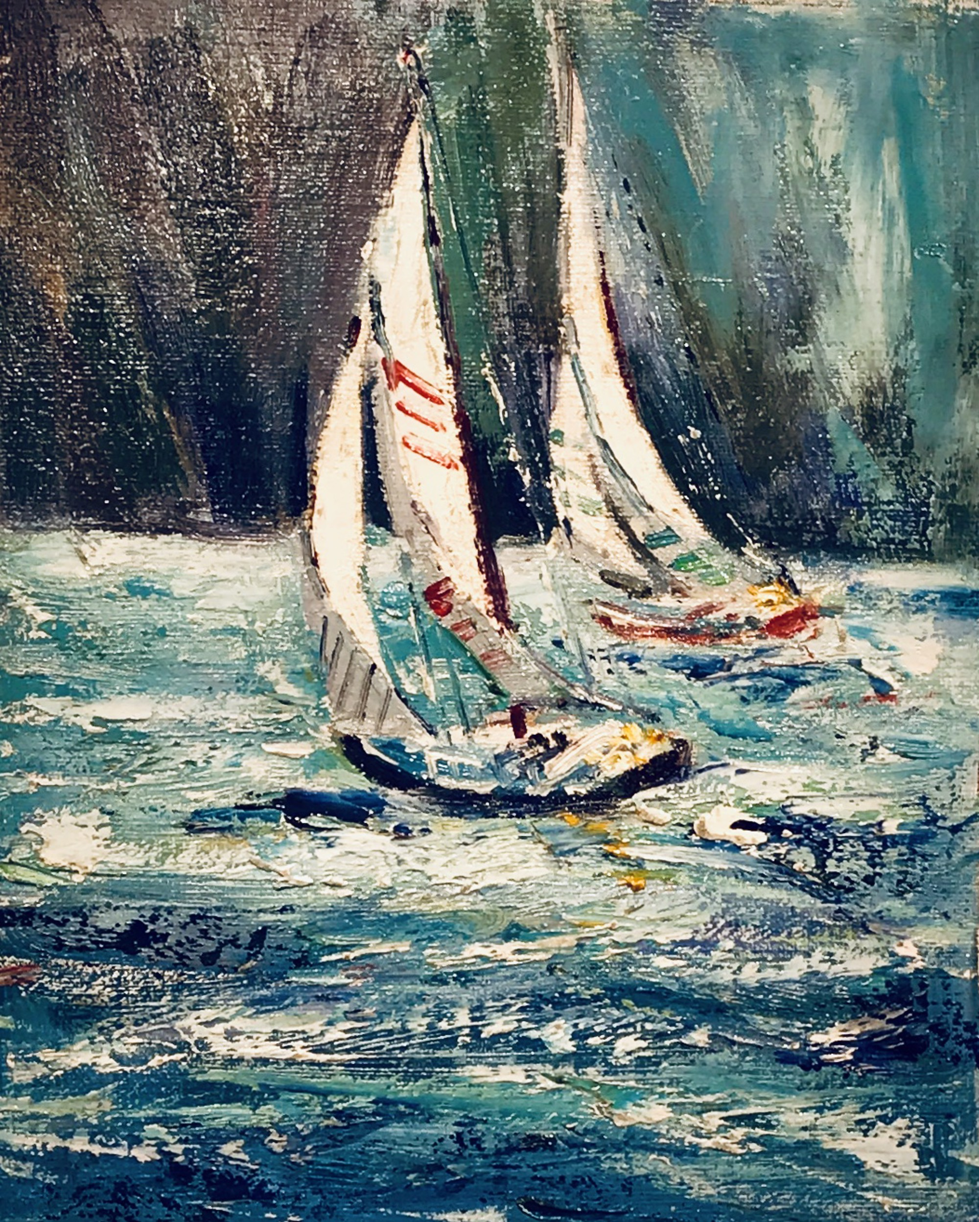 Two Sailboats Racing by VARIOUS WORKS