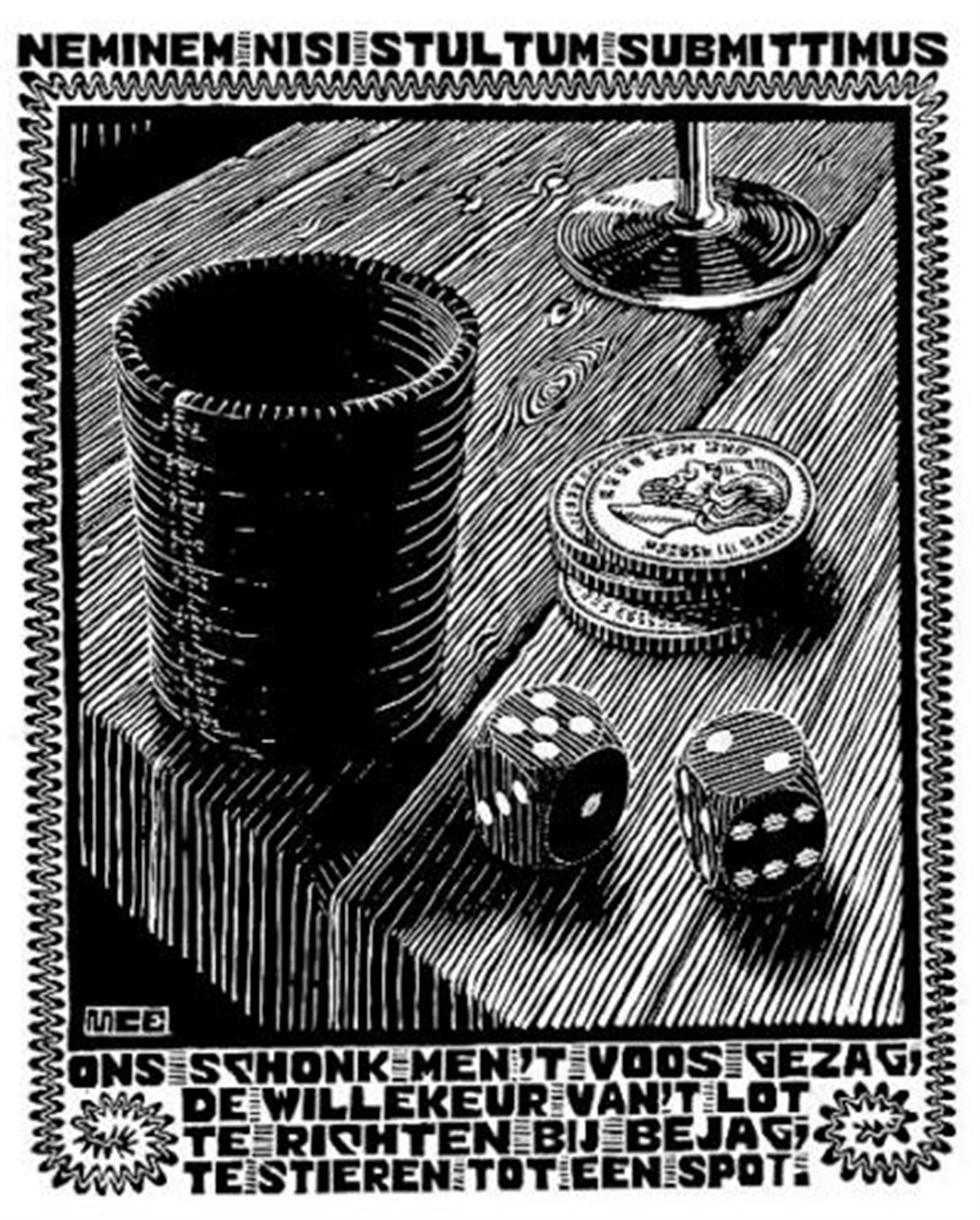 Emblemata - Dice by M.C. Escher