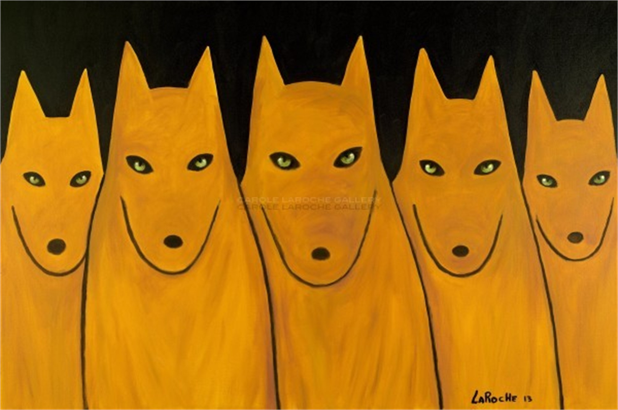 "GOLDEN WOLF PACK - limited edition giclee on canvas: (large) 40""x60"" $3500 or (medium) 30""x42"" $2200 by Carole LaRoche"