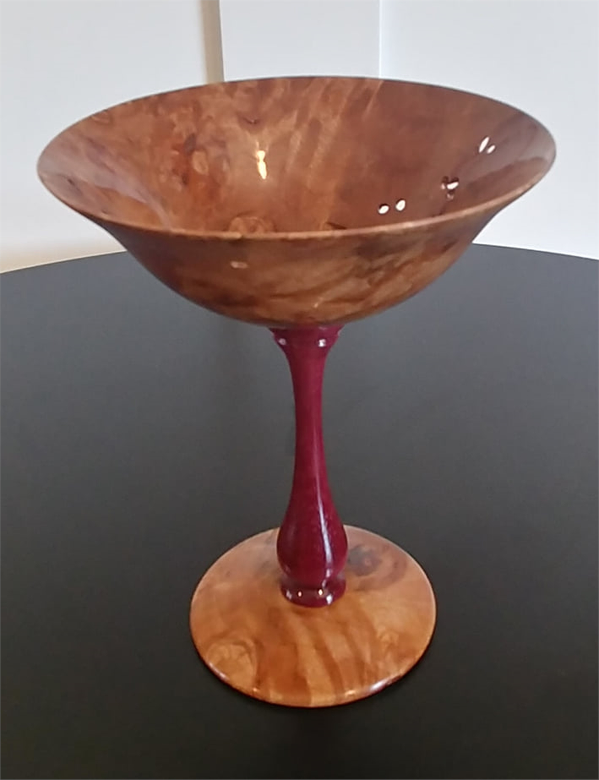 Maple Burl Goblet with Purple Heart Stem by Gary Dahrens (Lafayette, OR)