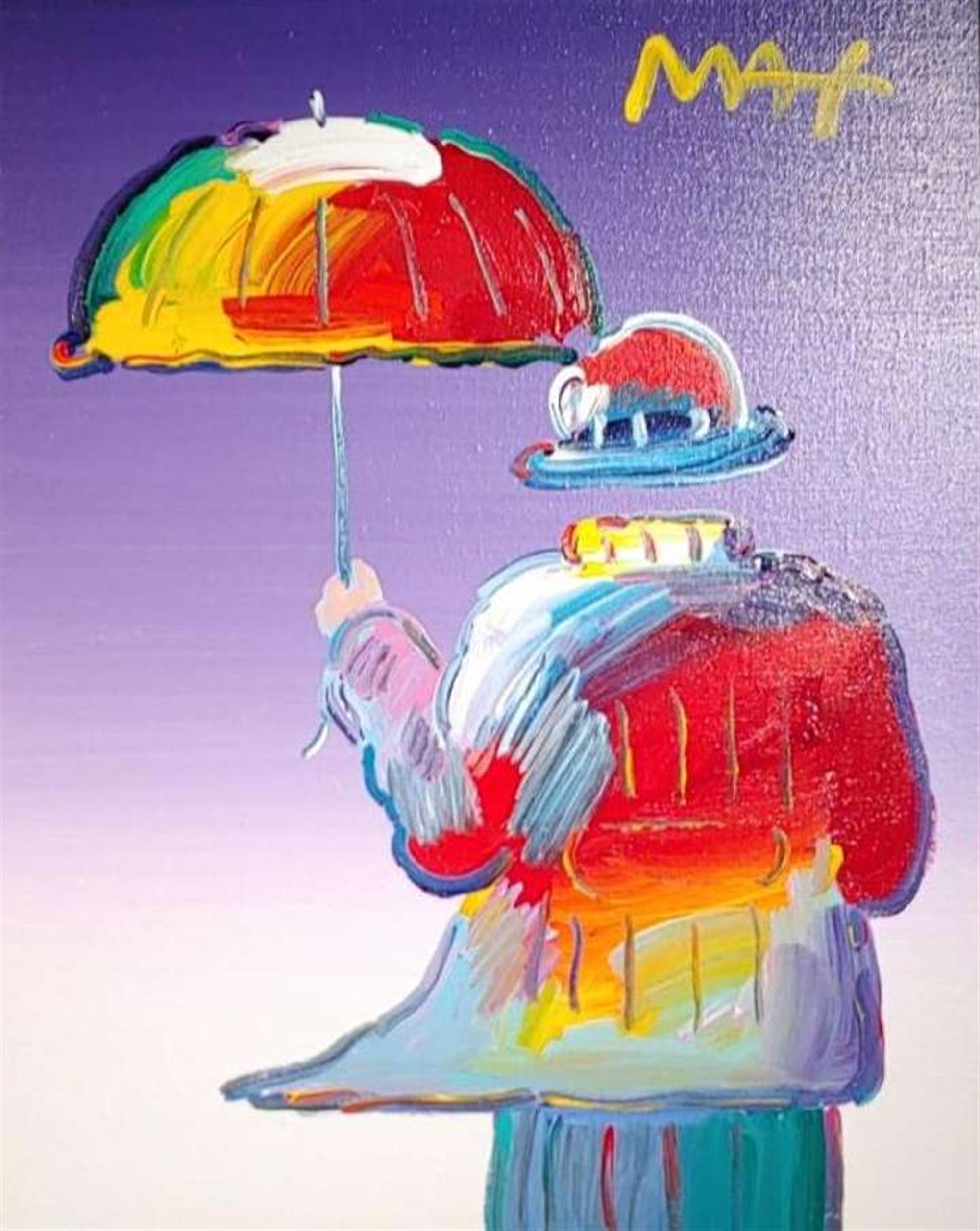 Umbrella Man on Purple by Peter Max