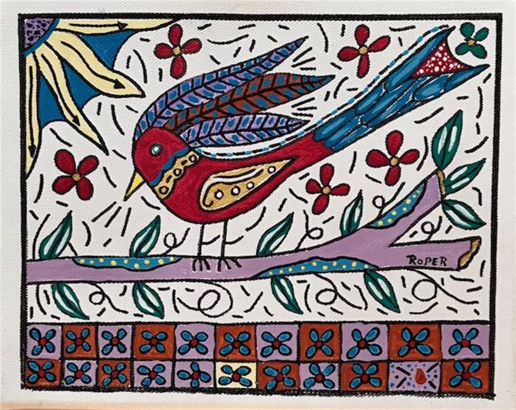 Red Bird on a Limb by Billy Roper