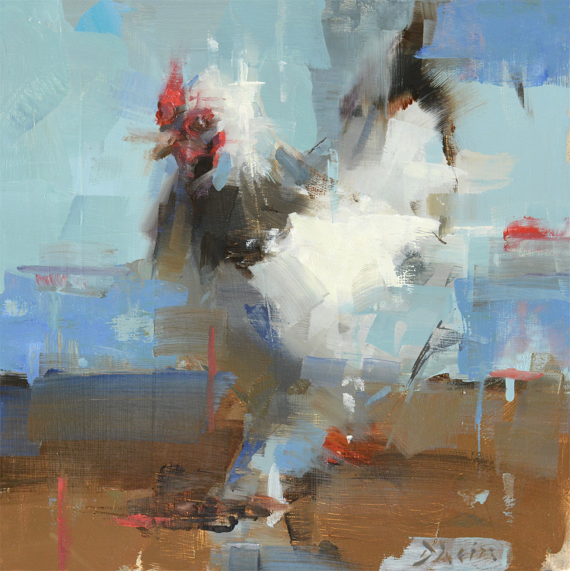 Chicken Study with Blue by Jacob Dhein