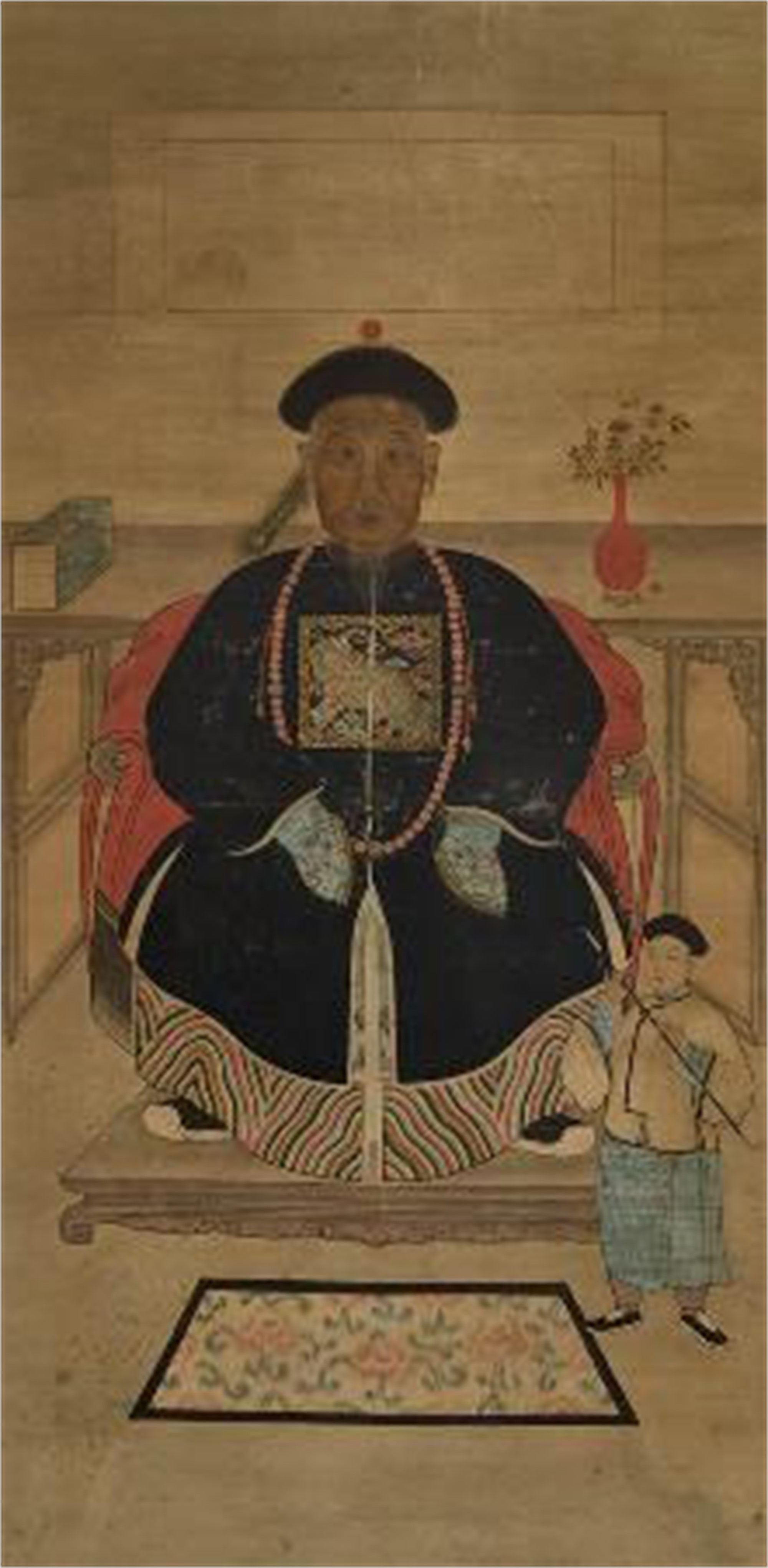 CHINESE ANCESTRAL SCROLL PAINTING OF A SEATED OFFICIAL WITH AN ATTENDANT WITH PIPE
