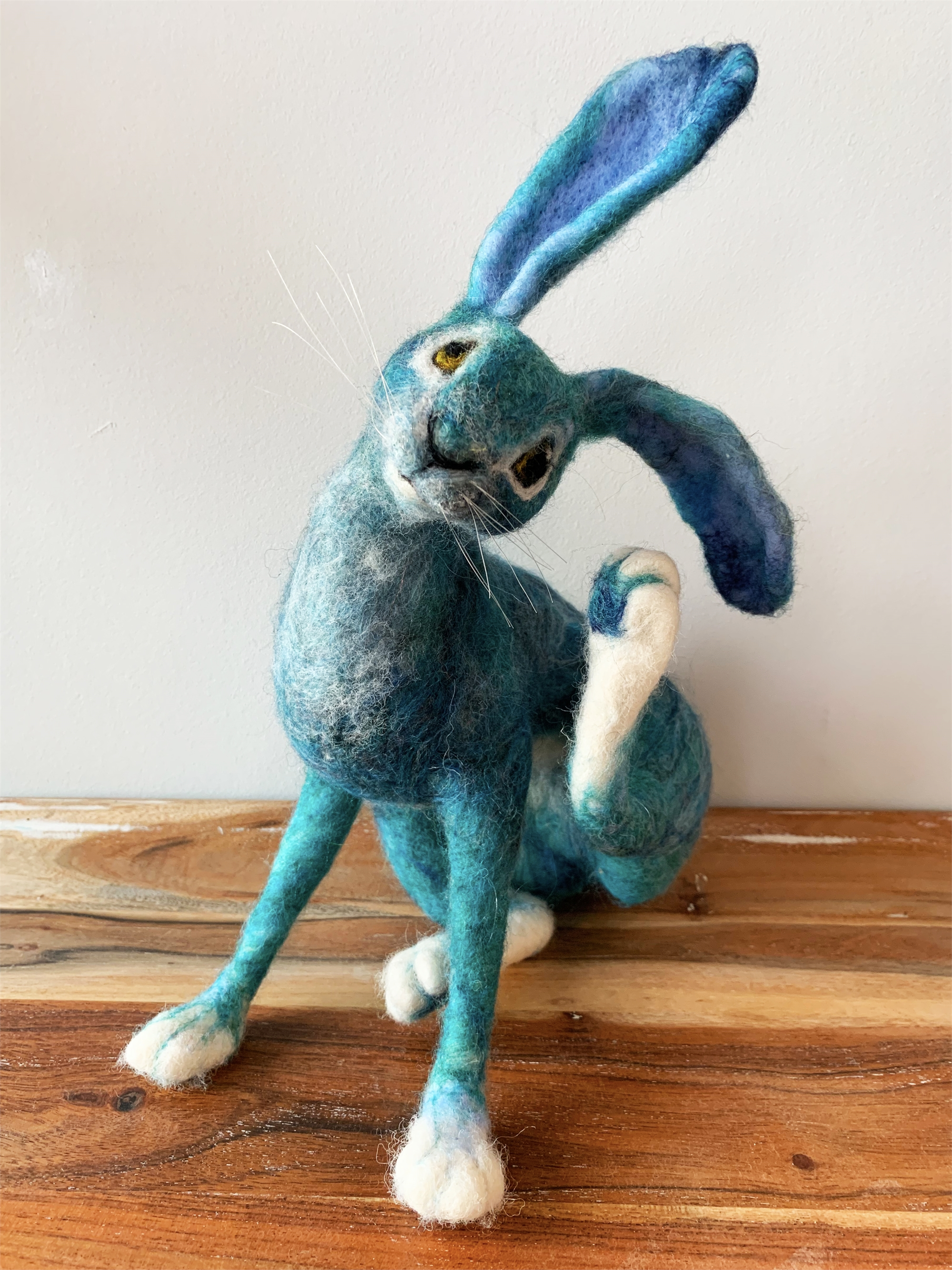 Scratching Blue Hare by Di Haswell