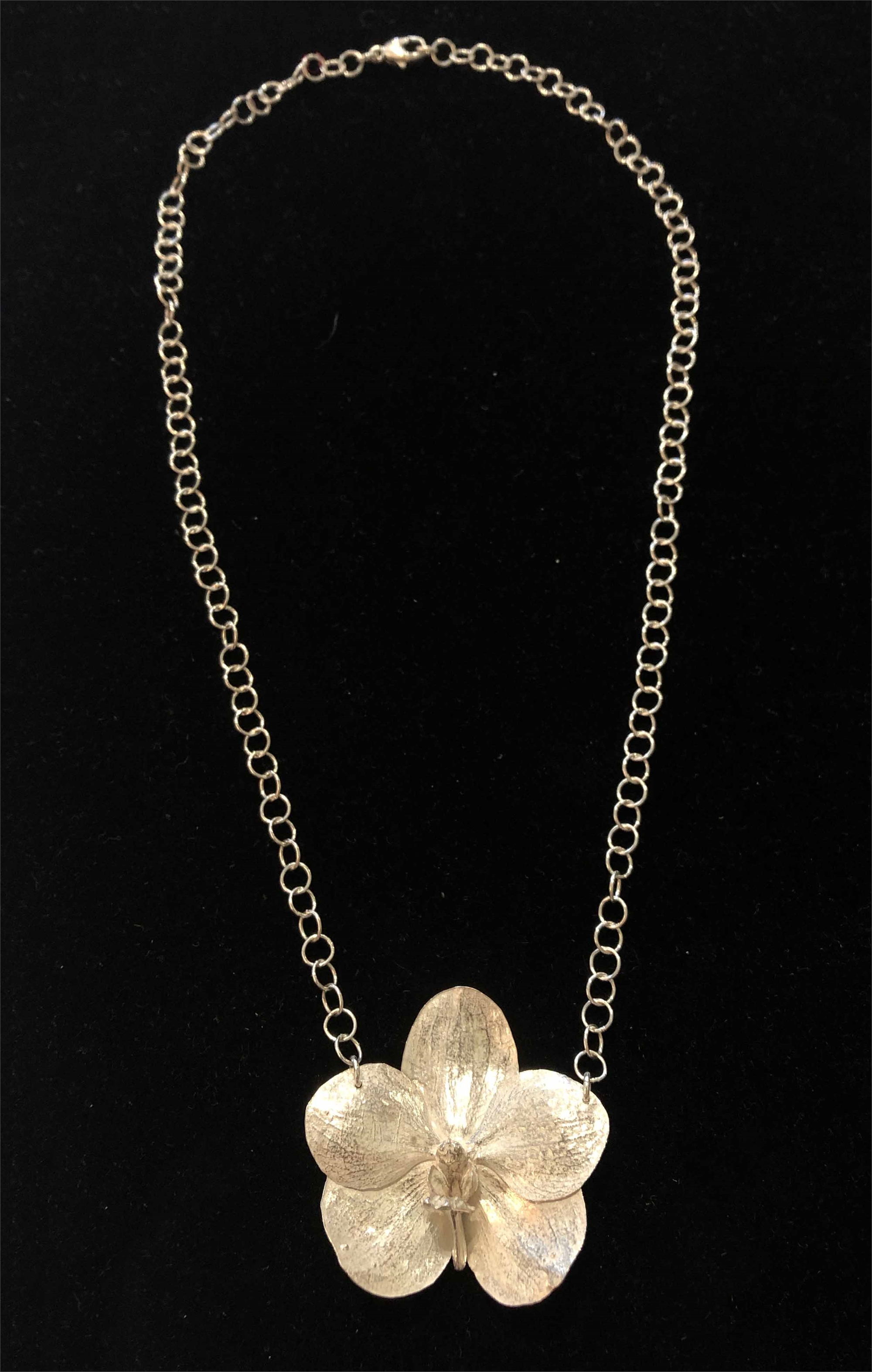 Large Single Sterling Silver Cast Orchid on Chain Necklace by Wayne Keeth
