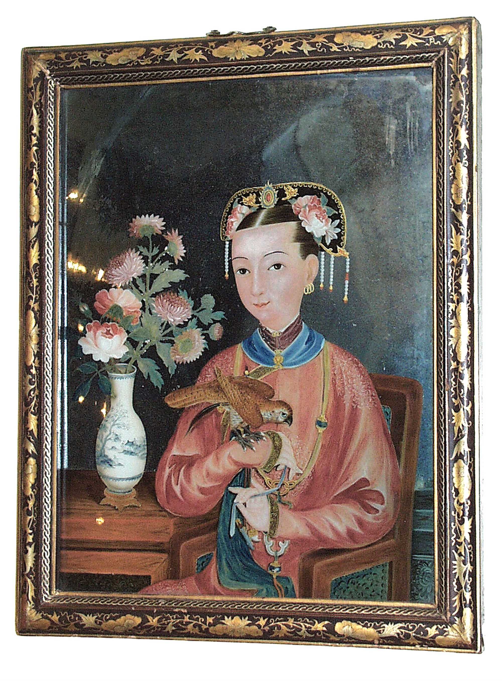 CHINESE REVERSE PAINTING ON GLASS OF A SEATED LADY AND HAWK