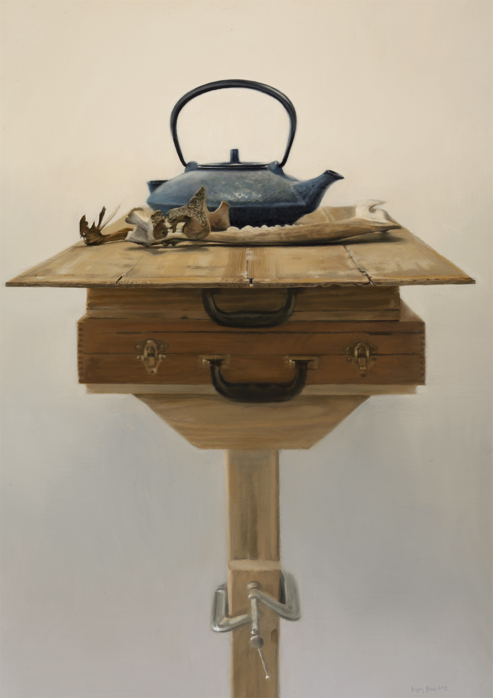 Cow Bones and Teapot by Gregory Block
