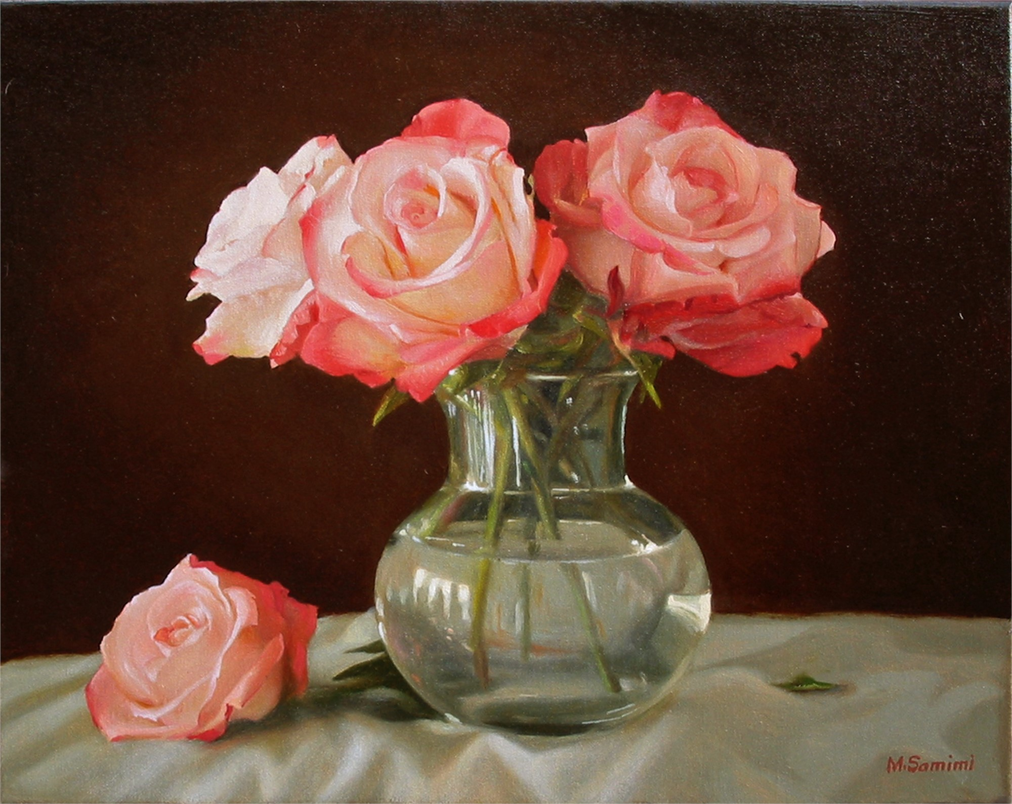 Roses in a Glass Vase by SAMIMI