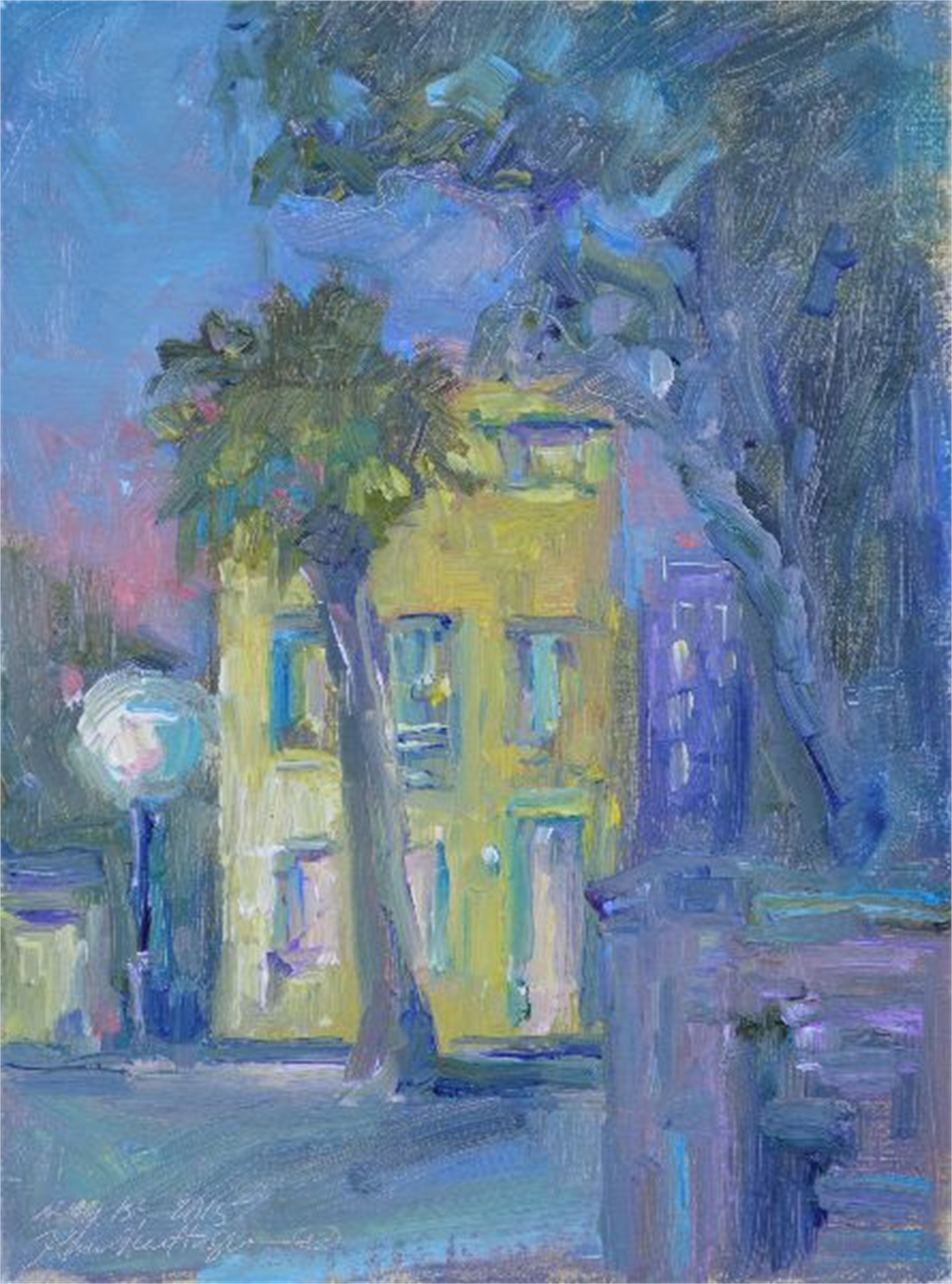 Little House On Church Street At Night by Karen Hewitt Hagan