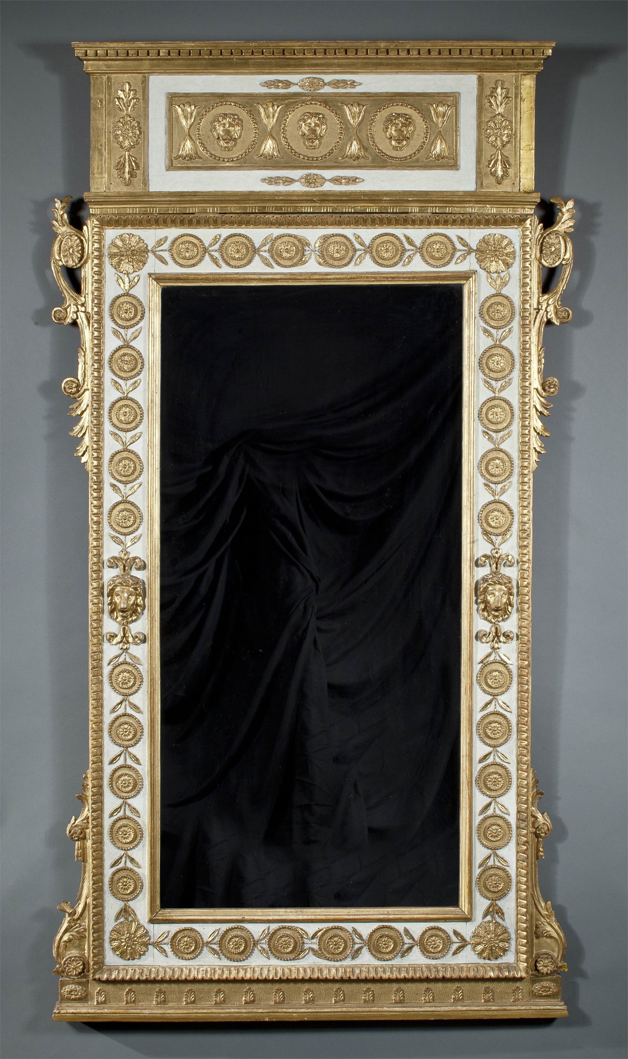 ITALIAN NEOCLASSICAL PARCEL GILT AND PAINTED MIRROR