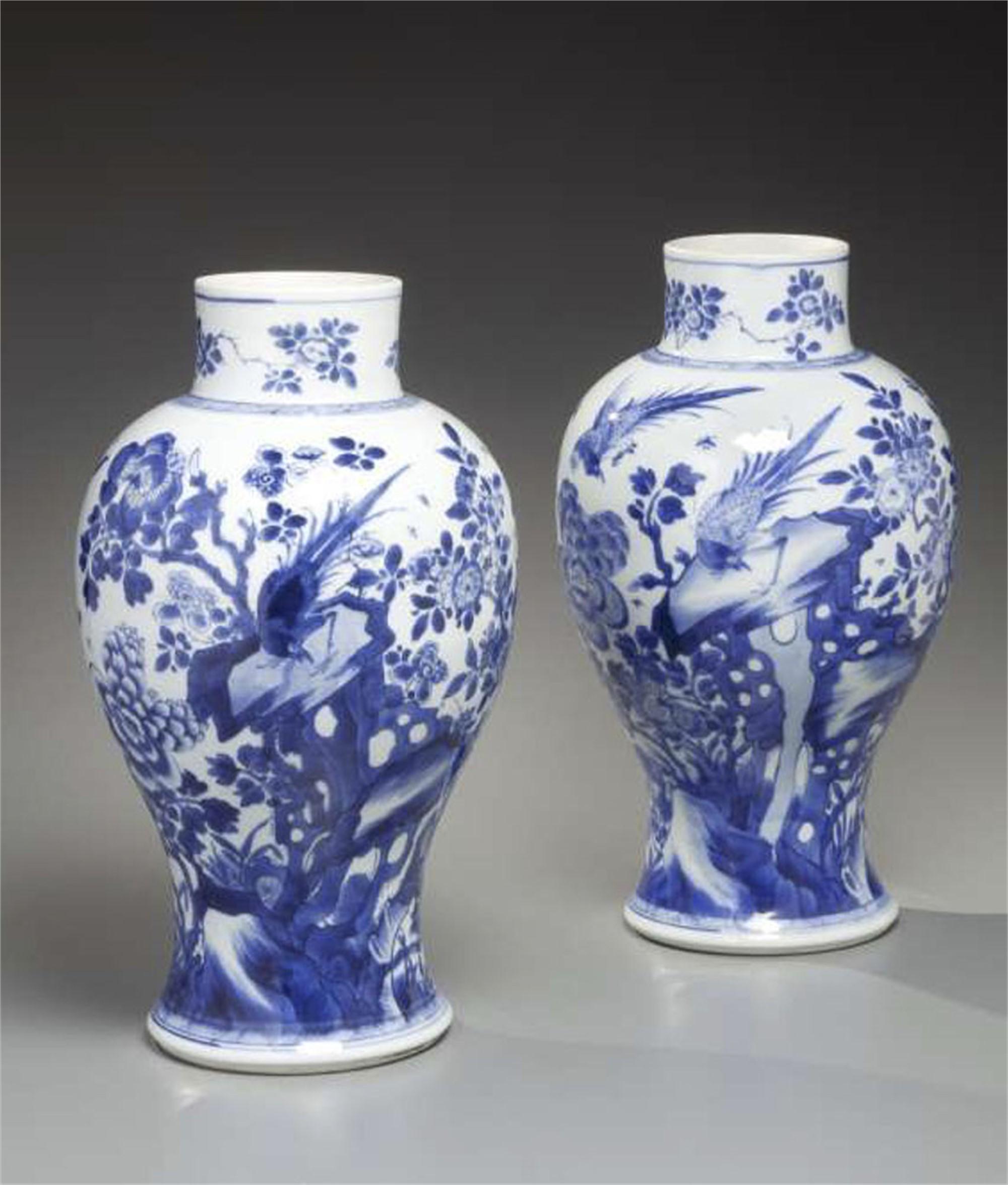 PAIR OF BLUE AND WHITE PORCELAIN BALUSTER FORM VASES