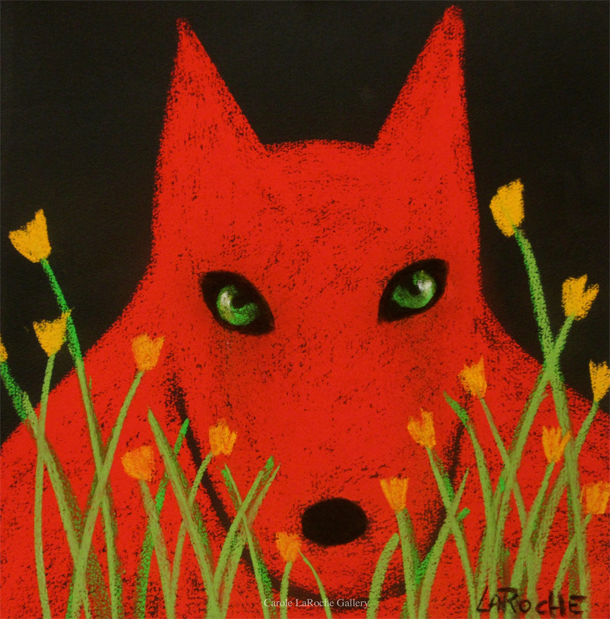 "WOLF IN THE GARDEN - limited edition giclee on canvas 20""x20"" by Carole LaRoche"