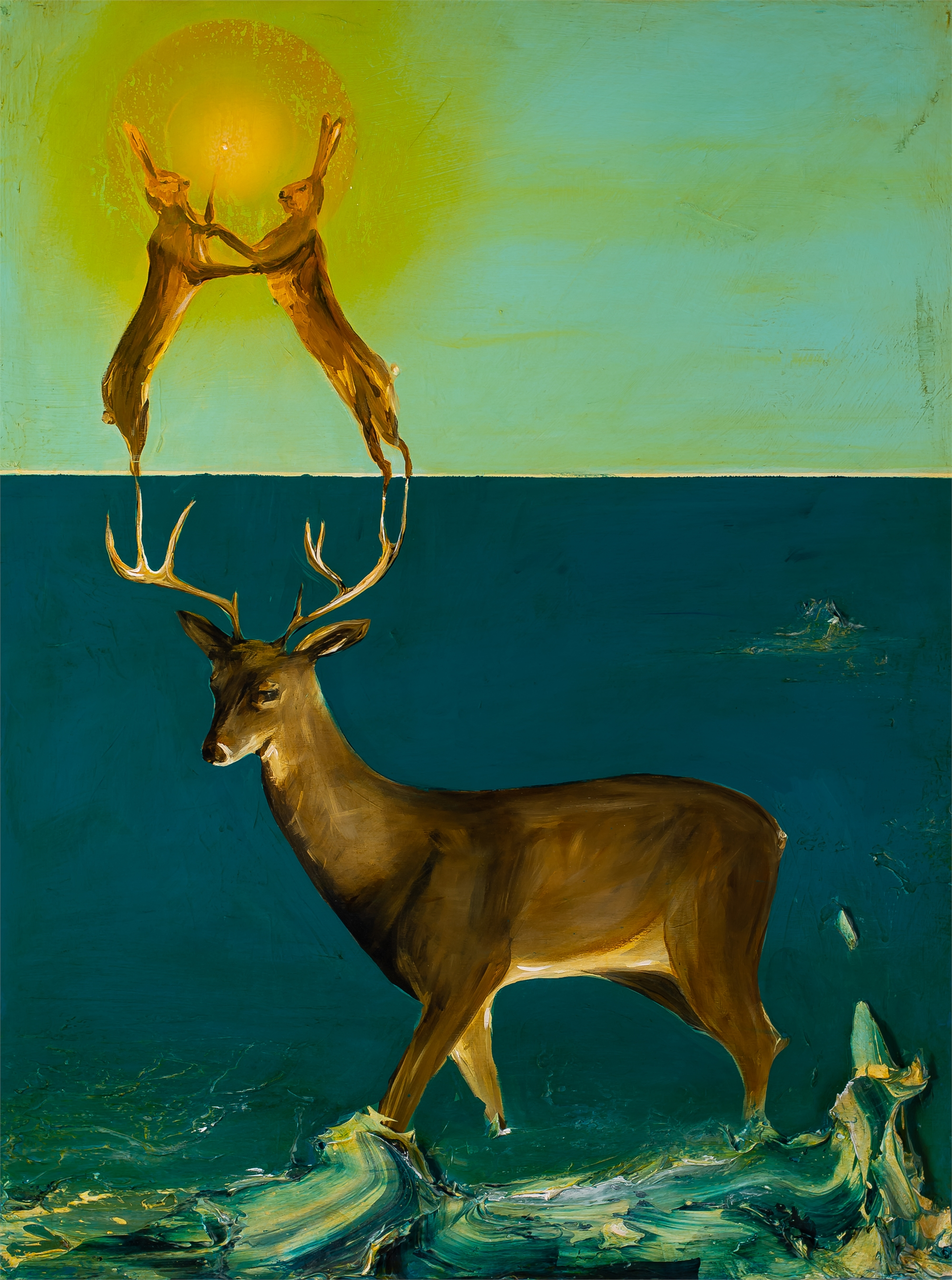 DEER AND RABBITS by Justin Gaffrey