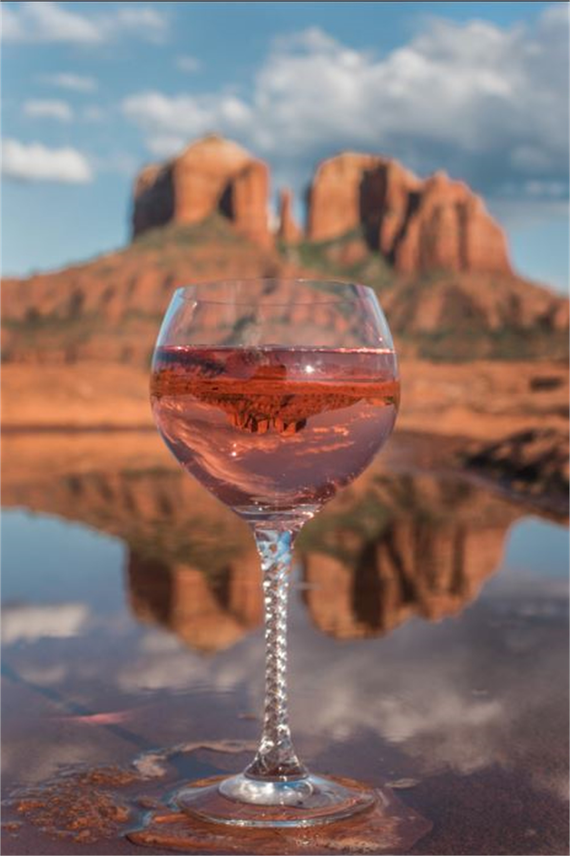 Cathedral Rock Wine Reflected -PO by Joshua Esquivel