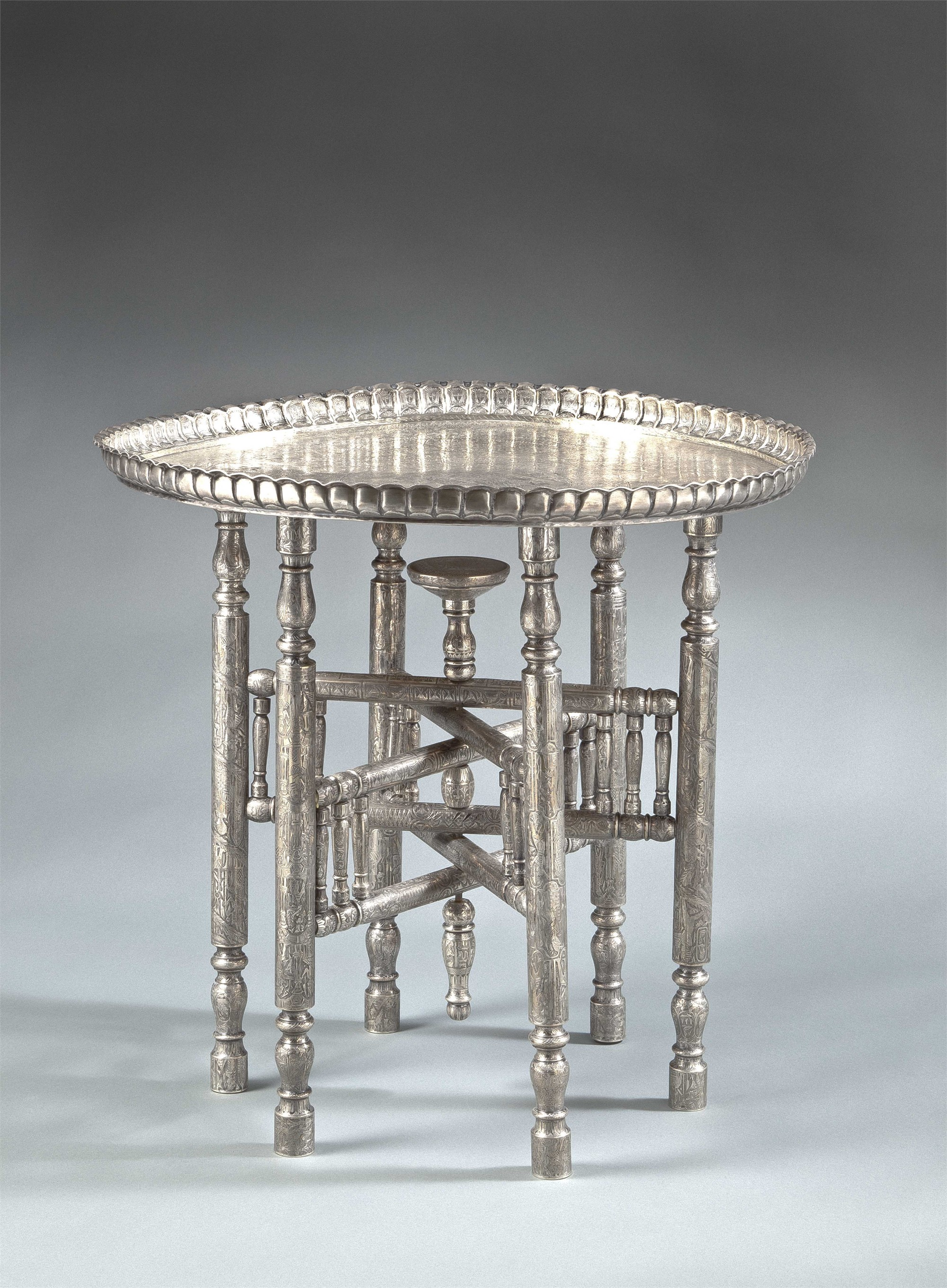 EGYPTIAN SILVER METAL OCCASIONAL TABLE