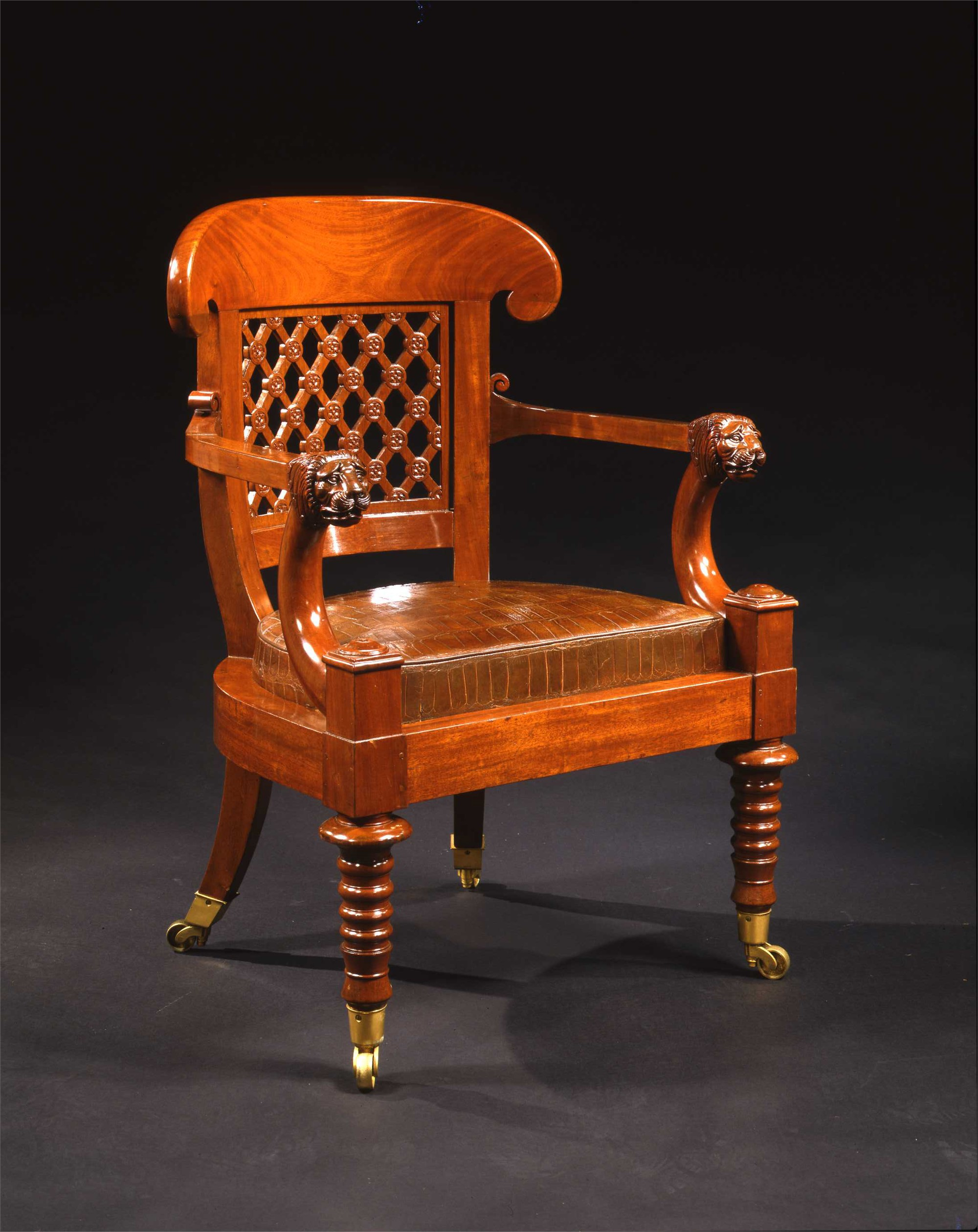 EMPIRE MAHOGANY FAUTEUIL DE BUREAU ATTRIB. TO H. JACOB