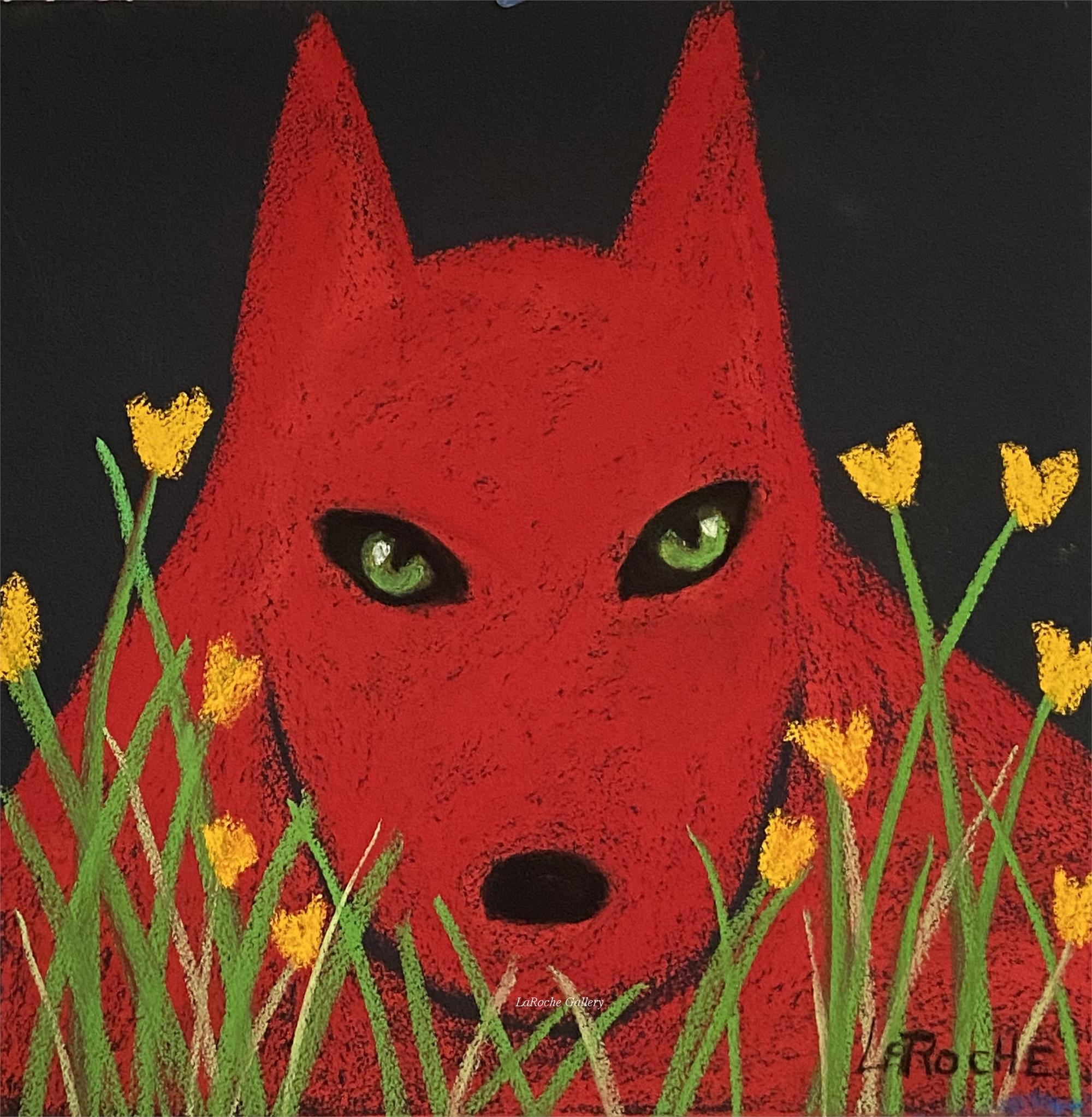 RED WOLF IN THE GARDEN by Carole LaRoche