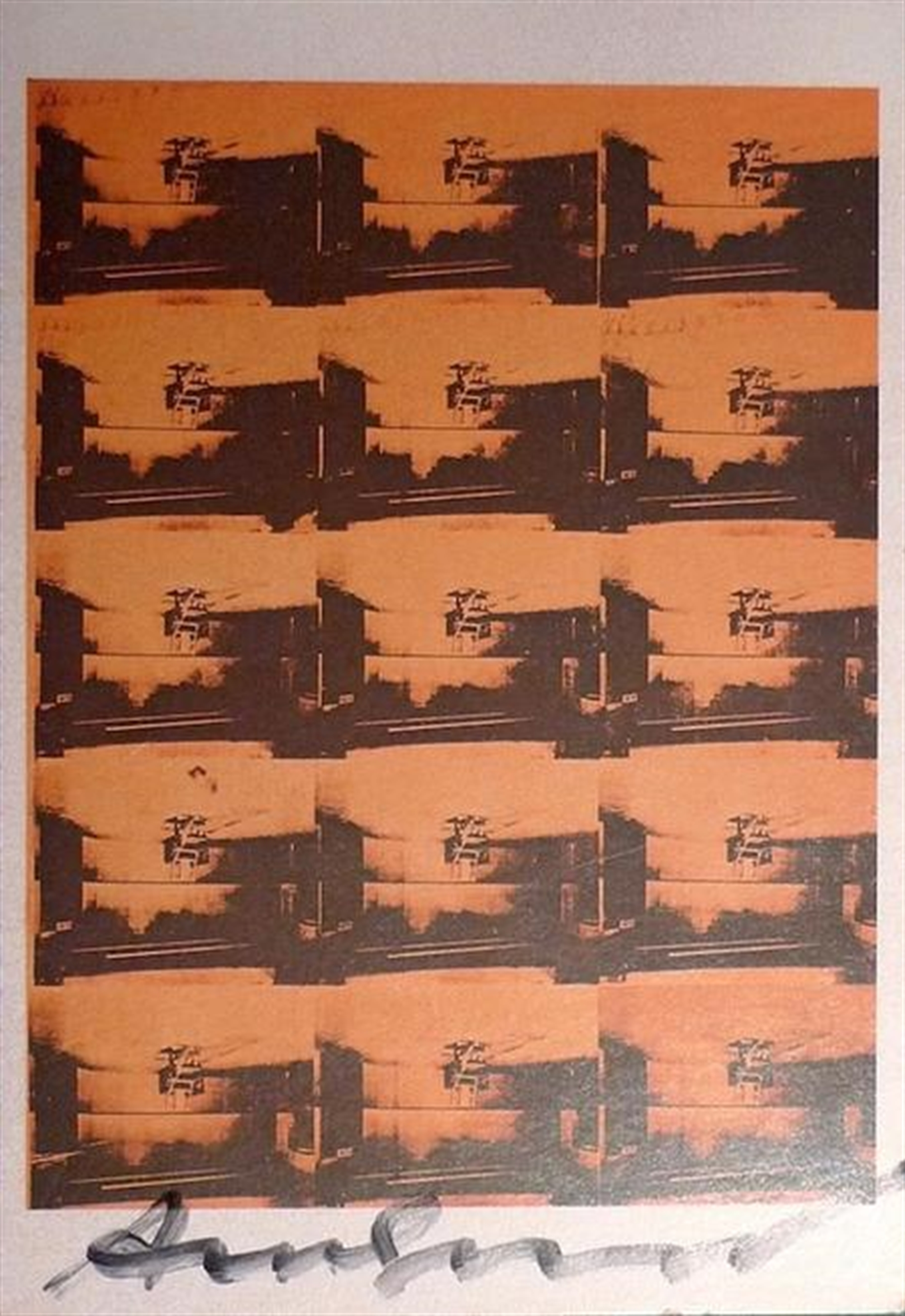 15 Orange Electric Chairs by Andy Warhol