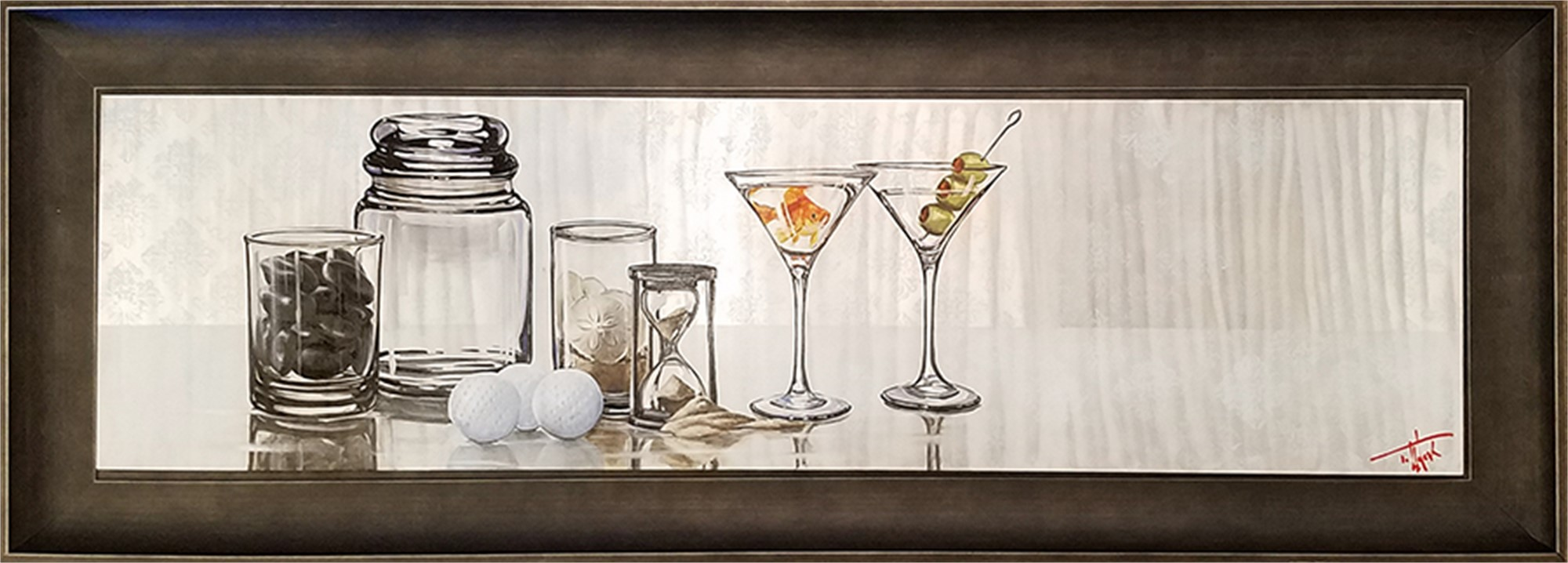 Drinks with Friends - 48x13 Oil on Aluminum by Pete Tillack