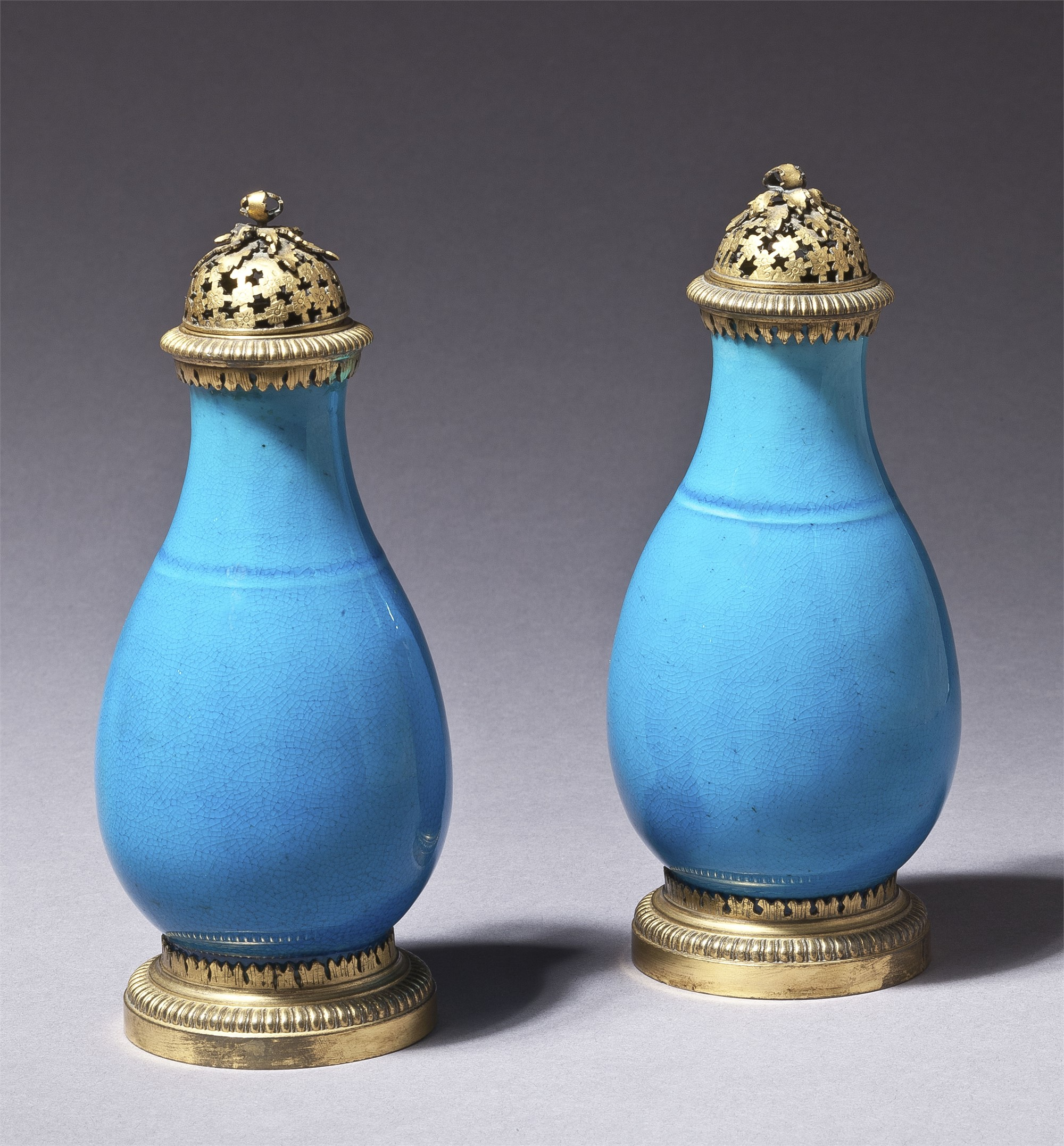 PAIR OF CHINESE GILT METAL MOUNTED TURQUOISE GLAZED PORCELAIN PERFUMERS