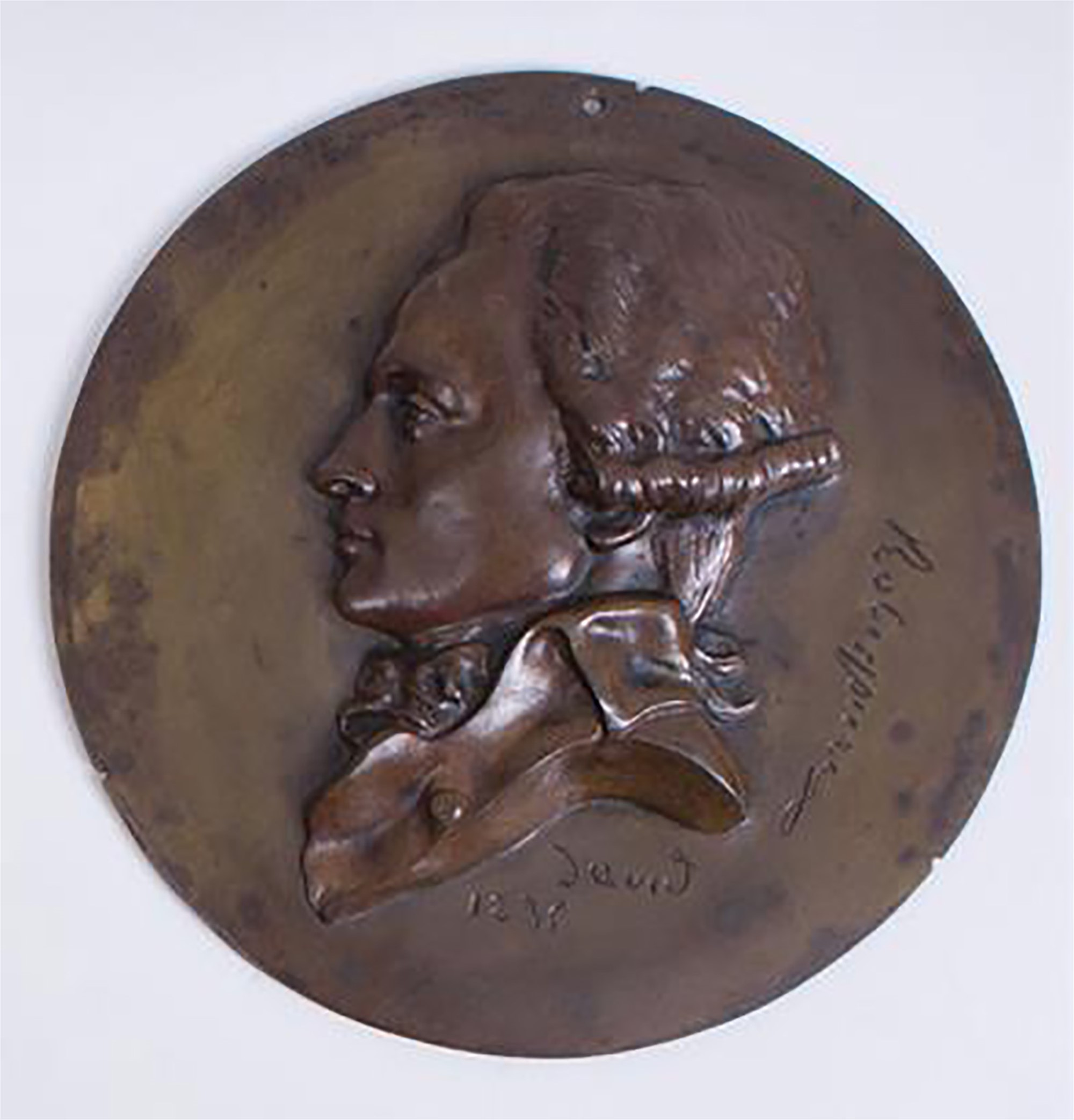 BRONZE RONDEL OF ROBESPIERRE by David D'Angers