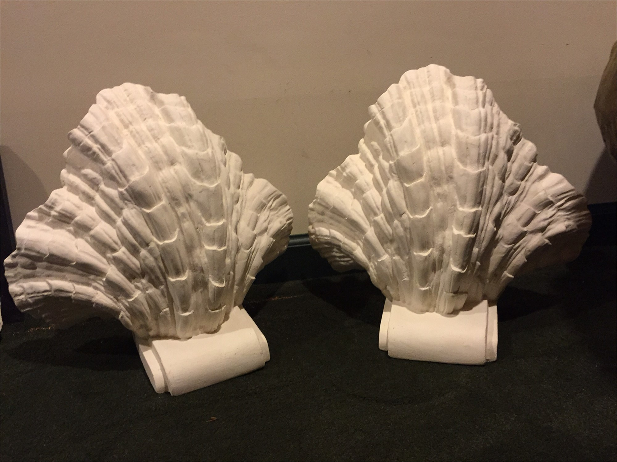 PAIR OF SHELL SHAPED PLASTER SCONCES
