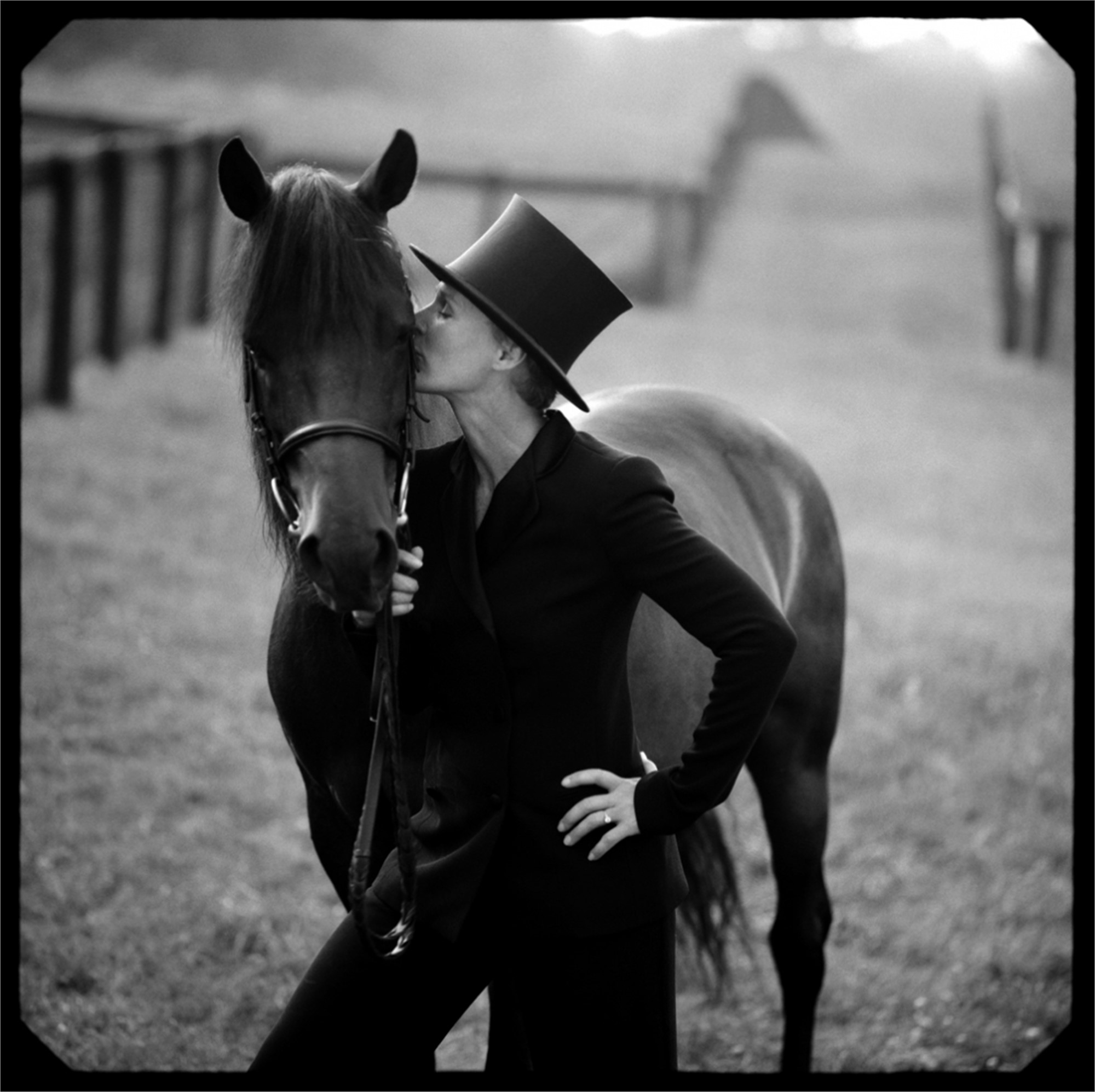 96095 Glenn Close With Horse 665 BW by Timothy White
