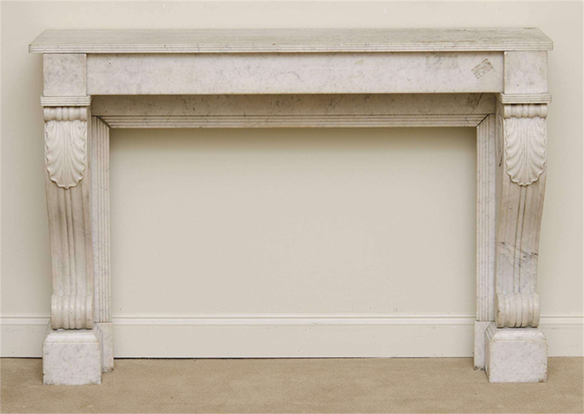 FRENCH CARVED WHITE MARBLE FIREPLACE SURROUND