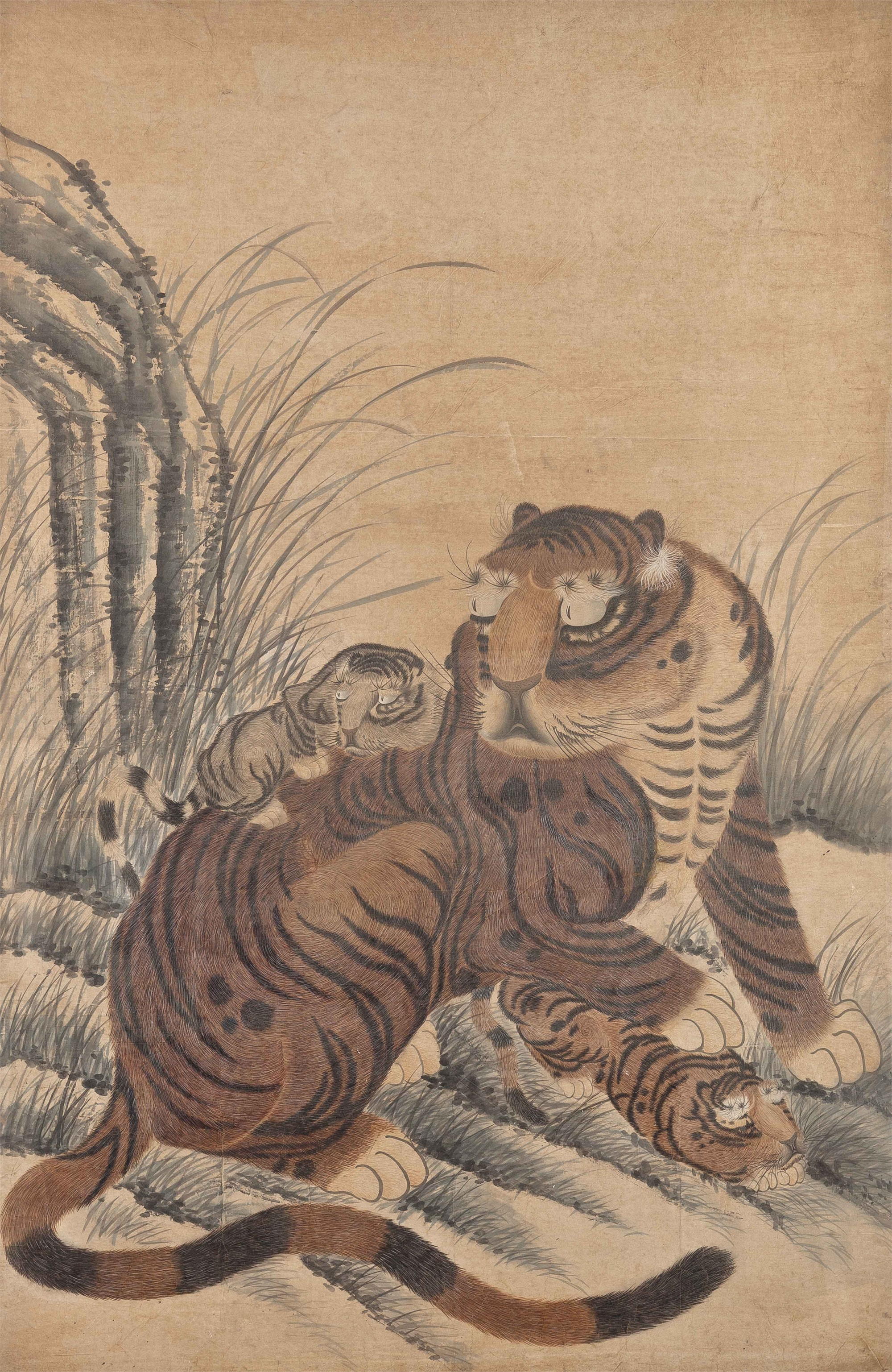 SCROLL OF A TIGER WITH TWO CUBS
