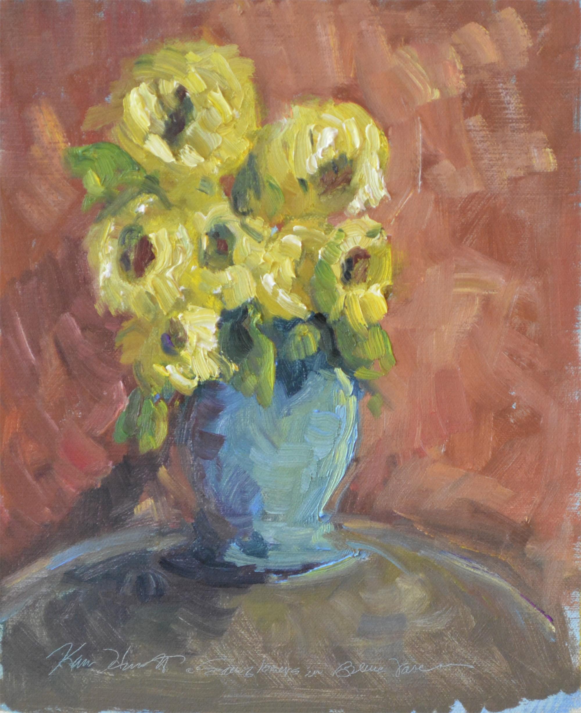 Sunflowers in Blue Vase by Karen Hewitt Hagan