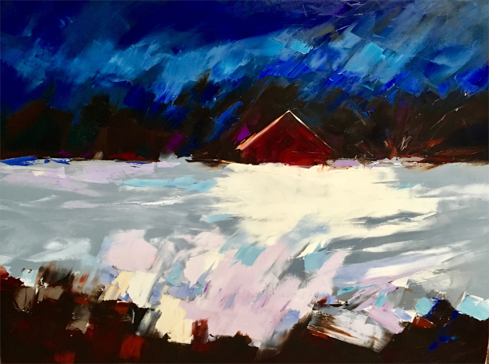 Blue Sky, Red Barn by Sandra Pratt