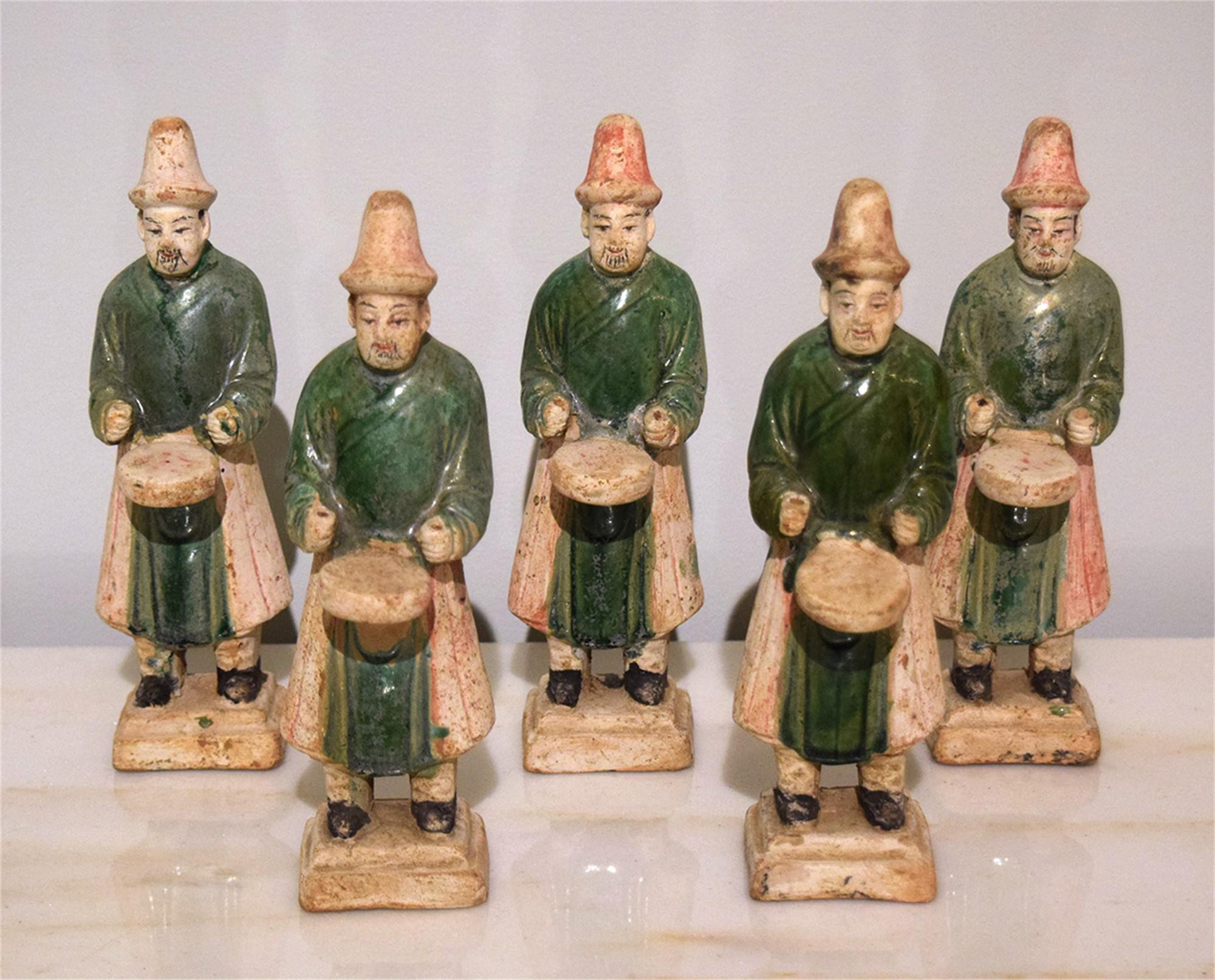 SET OF 5 GREEN-GLAZED DRUMMERS